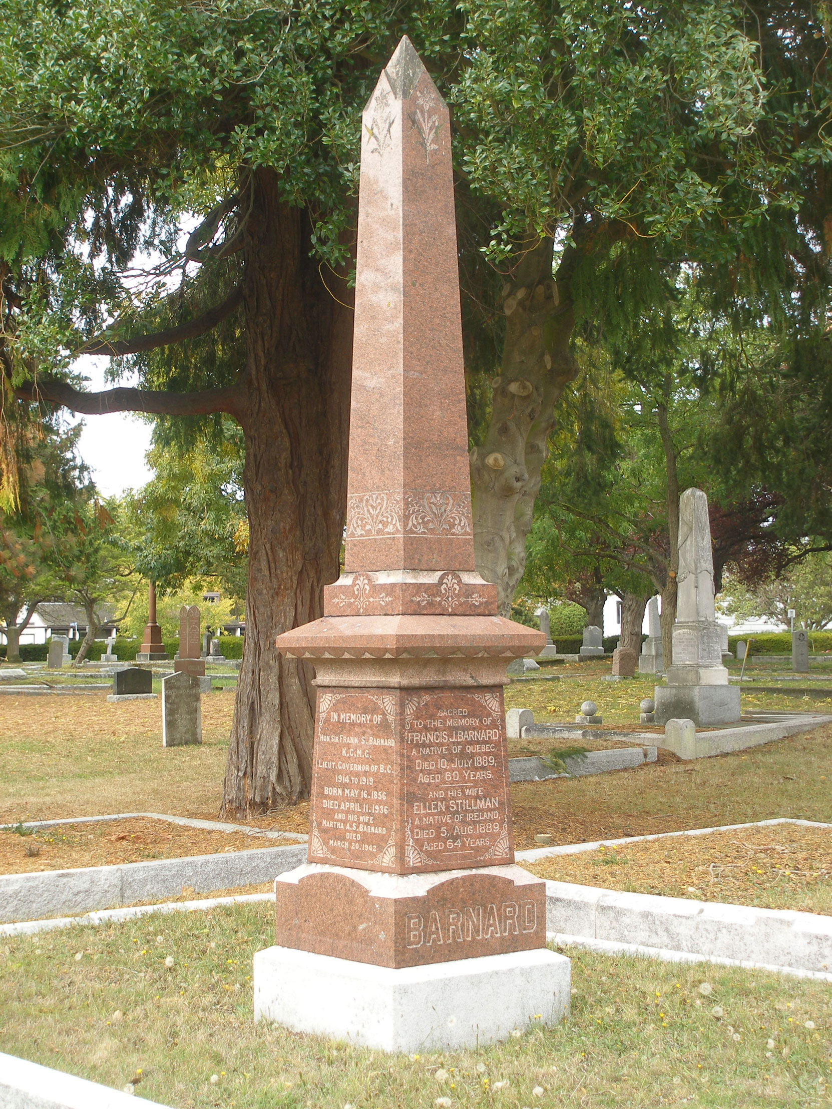 Sir Frank Stillman Barnard, family grave, Ross Bay Cemetery, Victoria, B.C. (photo by Mark Anderson)