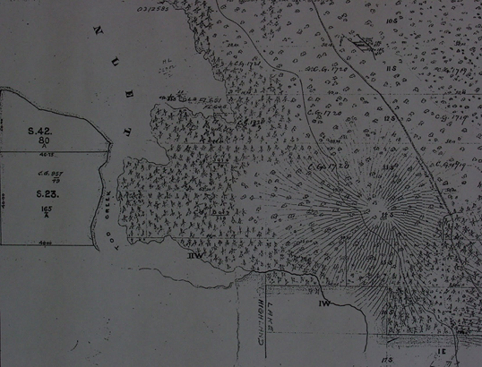 Portion of 1859 cadastral map showing Tod Inlet and the land that is now Butchart Gardens (BC Archives)