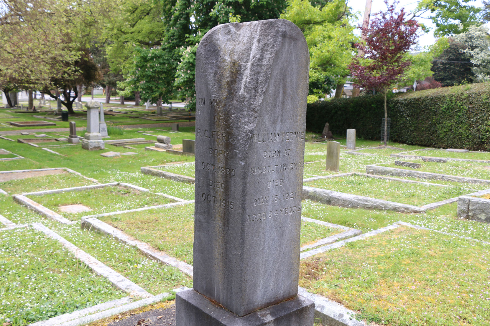 Damage to gravestone of Peter Fernie & William Fernie, Ross Bay Cemetery, Victoria, B.C. (photo by Mark Anderson)