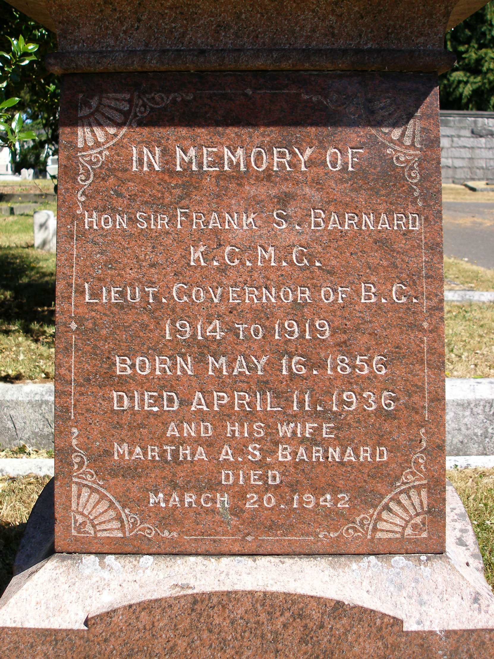 Sir Frank Stillman Barnard, grave inscription, Ross Bay Cemetery, Victoria, B.C. (photo by Mark Anderson)
