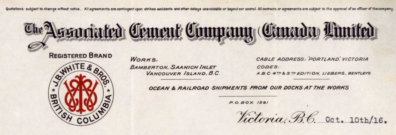 Associated Cement Company (Canada) Limited, letterhead, 1916 (Author's collection)