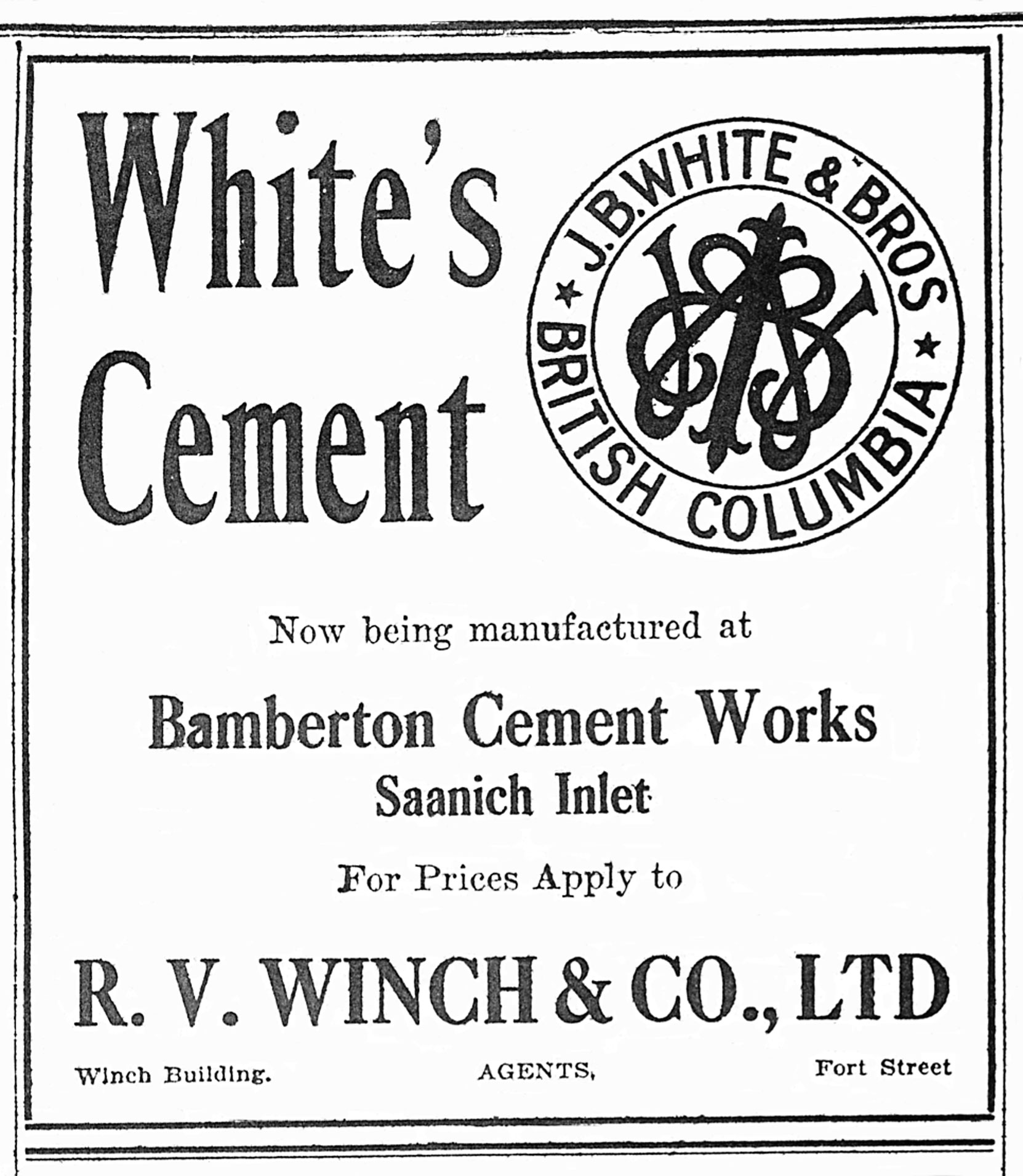 1913 newspaper advertisement for J.B. White cement, manufactured at the Bamberton Cement Works, Saanich Inlet. (Author's collection)