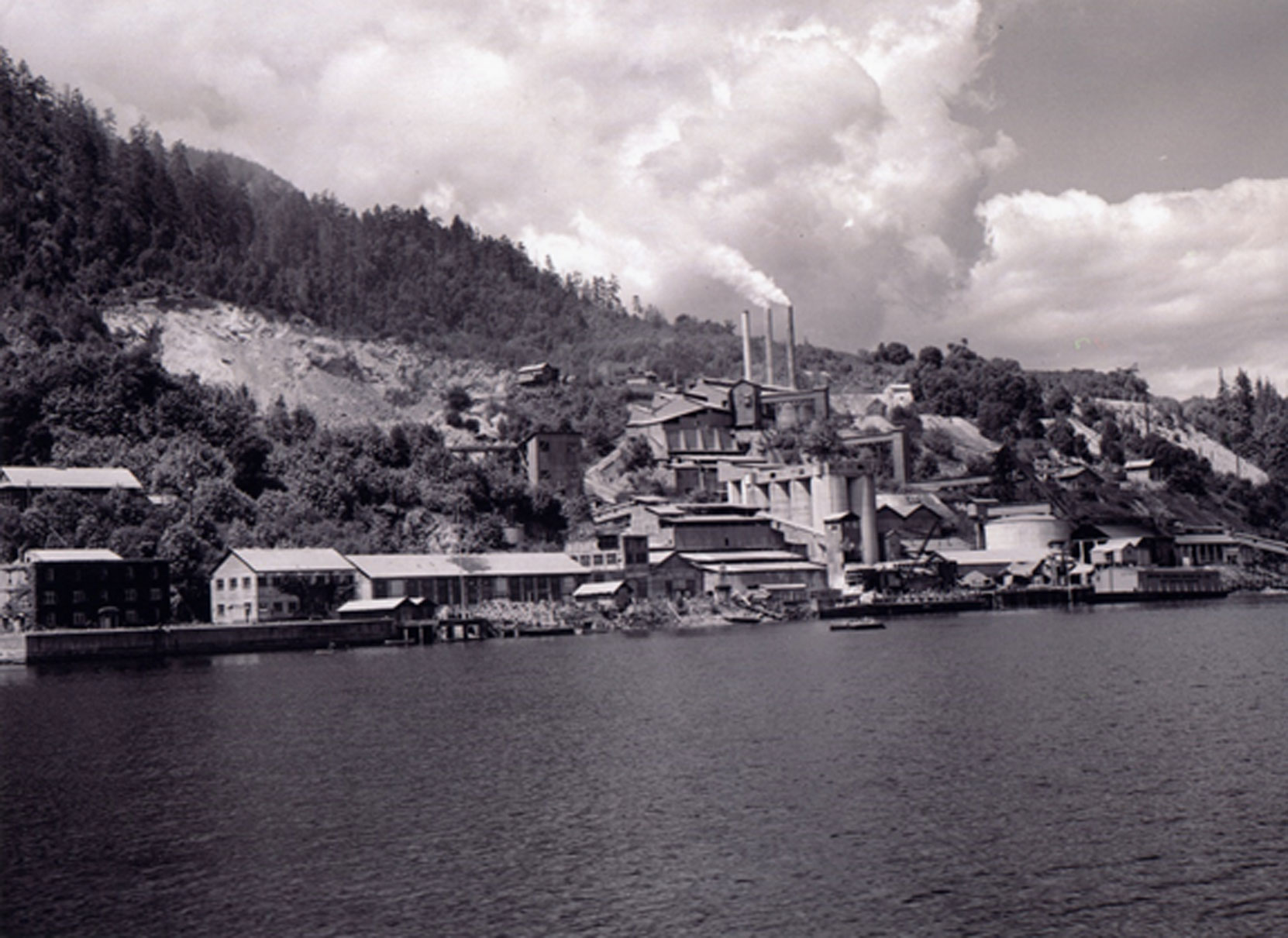 The Bamberton cement factory, viewed from the south east, circa 1946. This photo was released by the British Columbia Cement Company.