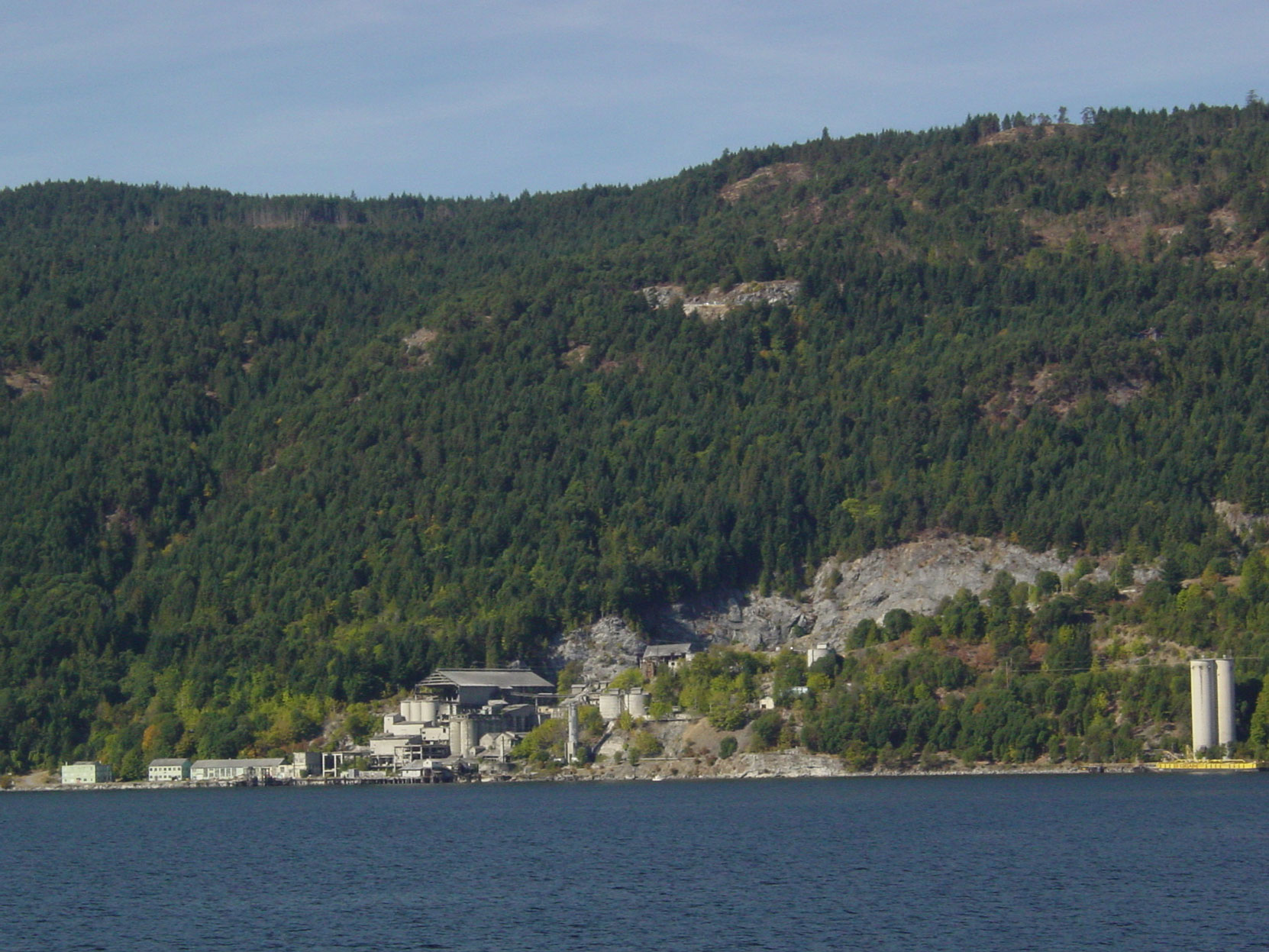 The ruins of the Bamberton cement factory, seen from the Brentwood-Mill Bay ferry, 2003 (photo by author)