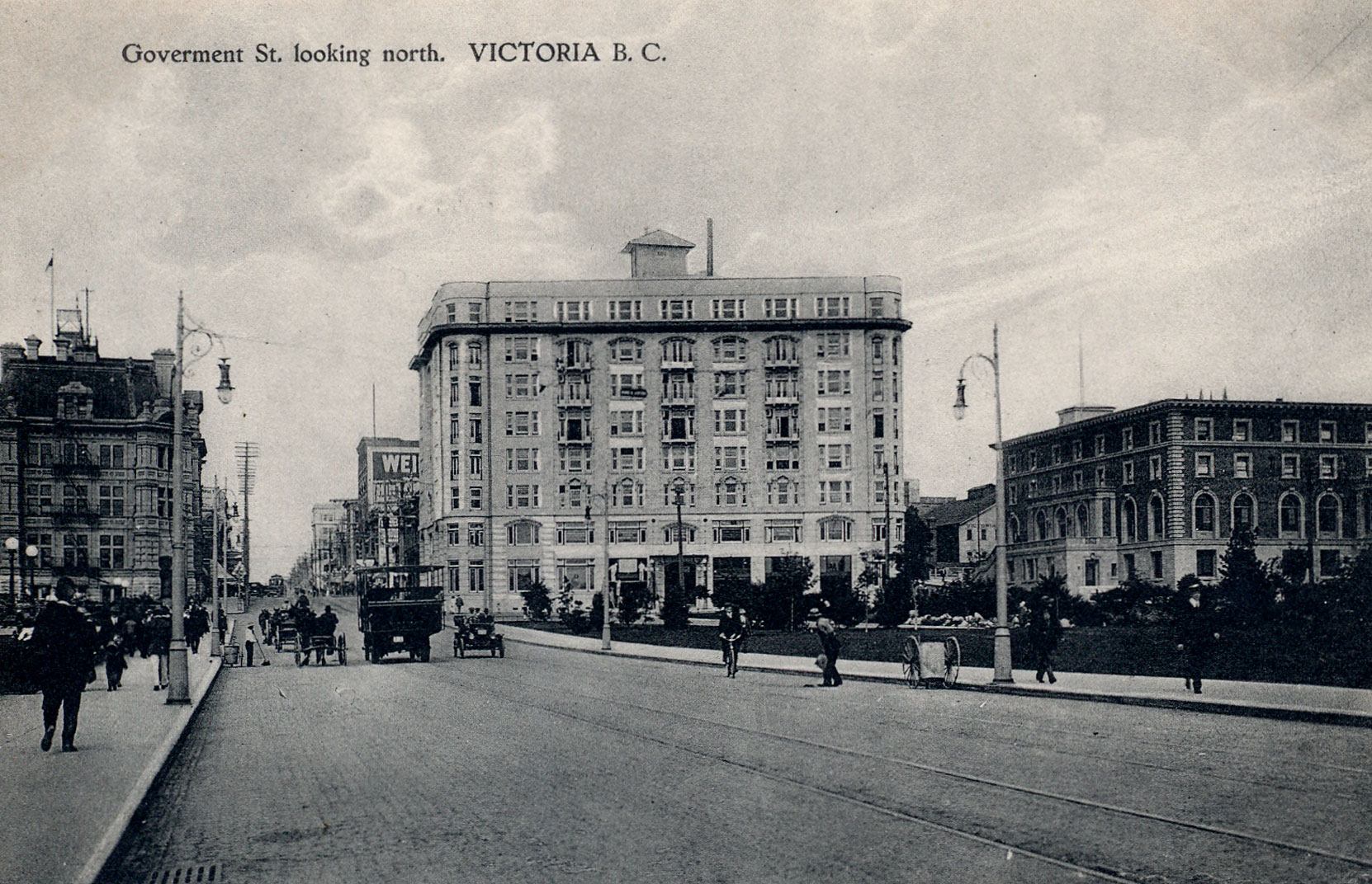 The Belmont Building (center) and the Union Club (right), circa 1920. Robert Butchart's office was on the third floor of the Belmont Building and he was a member of the Union Club. (Author's collection)