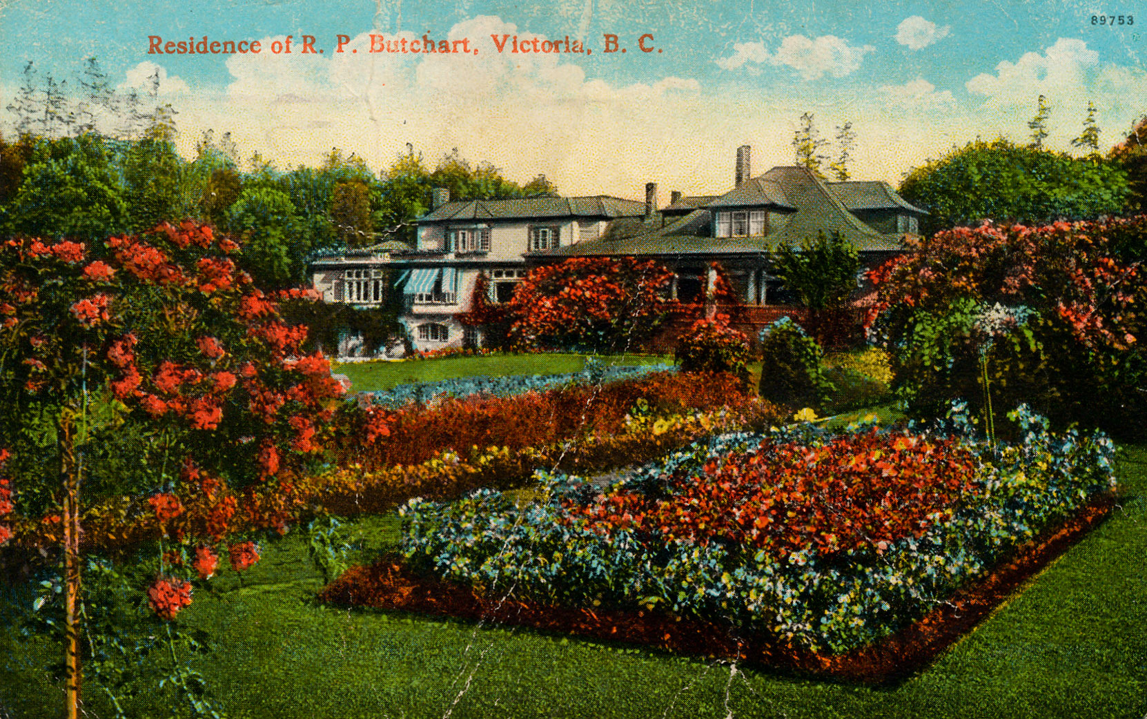Postcard showing Benvenuto, circa 1925, prior to construction of the Italian Garden and the 1929 addition to the east side of the Italian Garden. This postcard is postmarked 5 September 1925. (Author's collection)