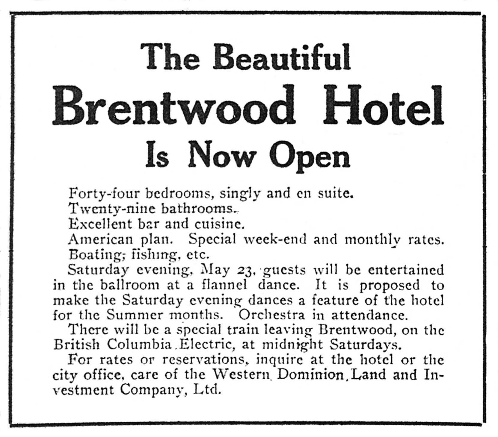 Victoria newspaper advertisement for Brentwood Hotel, May 1914 (Author's collection)