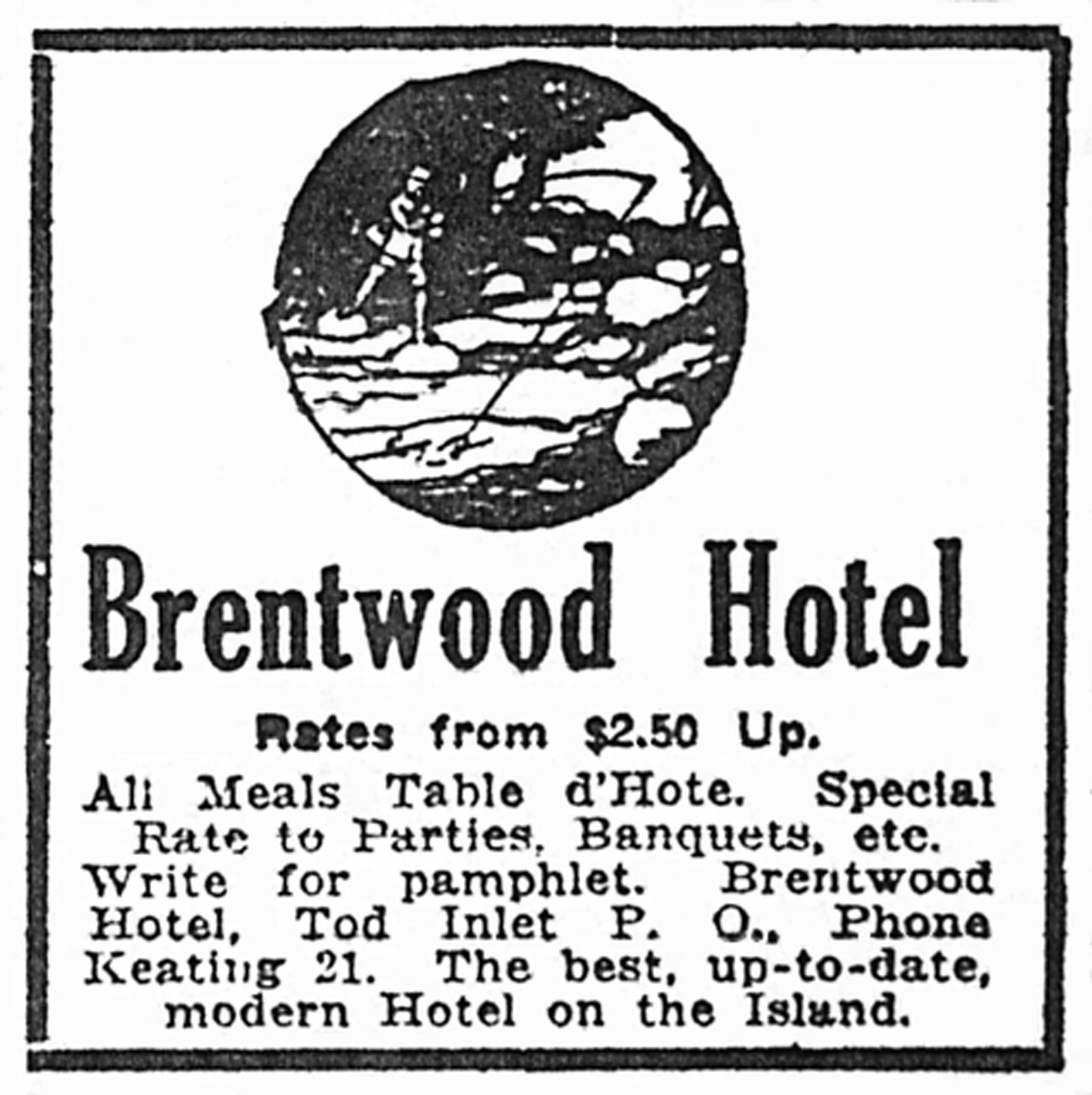 Victoria newspaper advertisement for Brentwood Hotel, July 1921 (Author's collection)