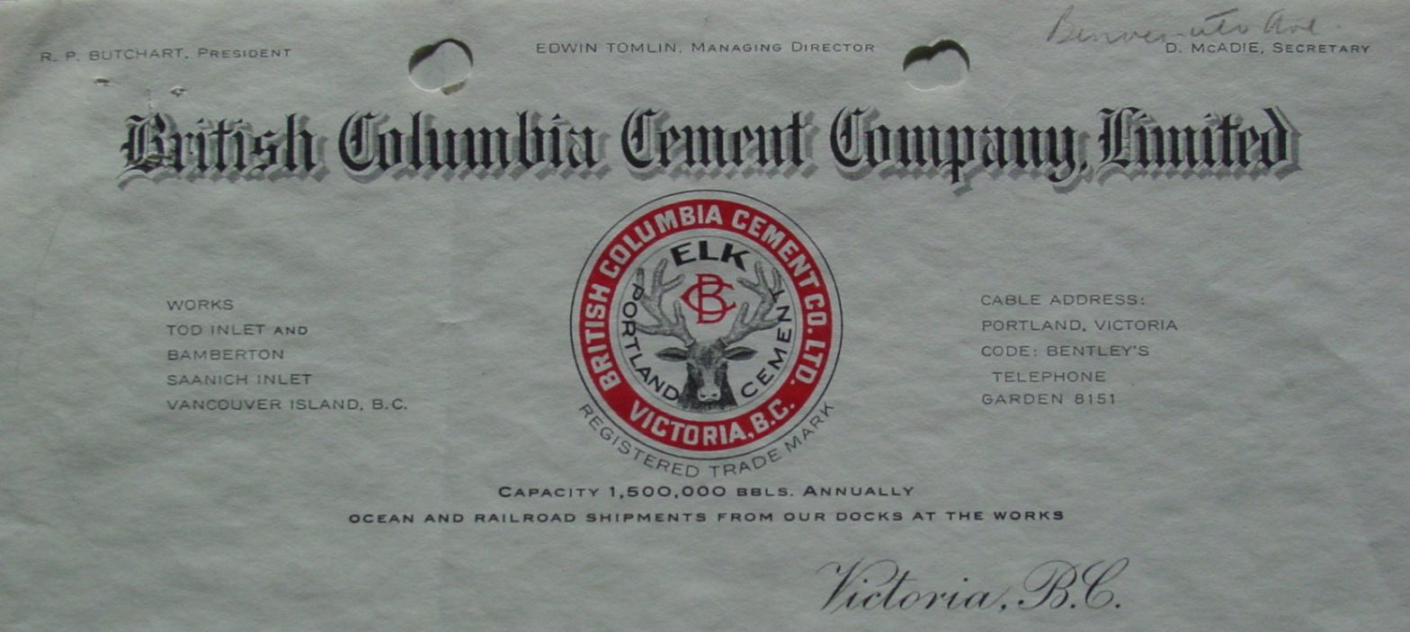 British Columbia Cement Company letterhead, 1923 (Author's collection)