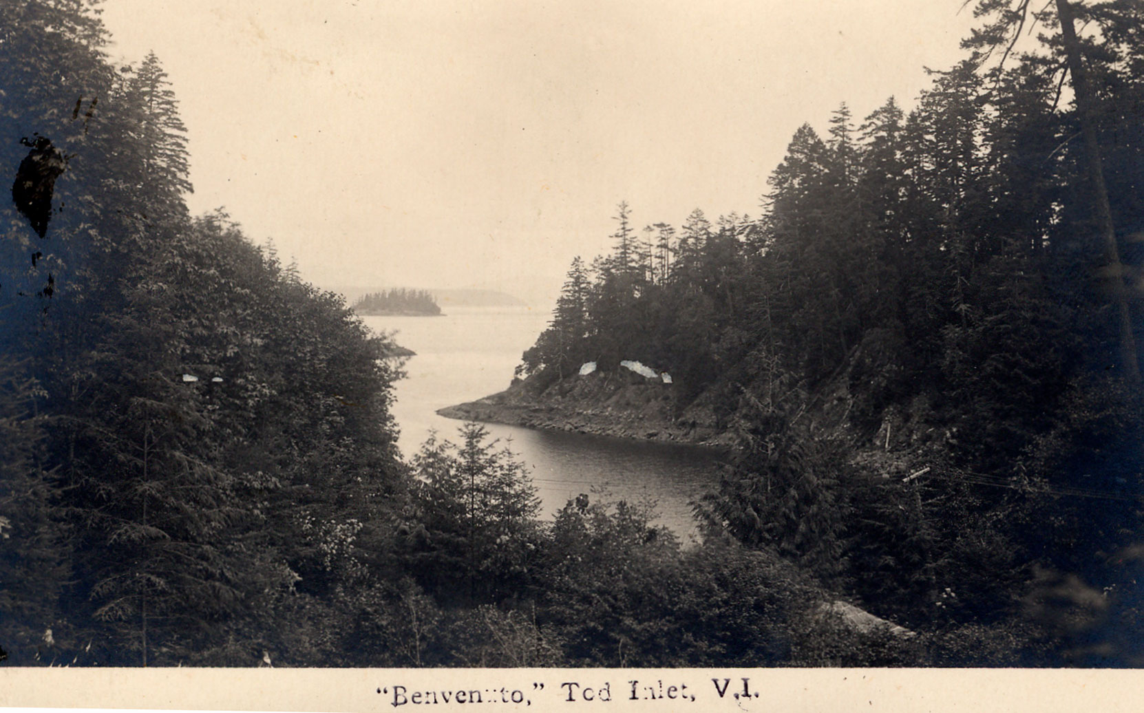 Postcard of Butchart Cove and Saanich Inlet, viewed from the Japanese Garden, circa 1920 (Author's collection)