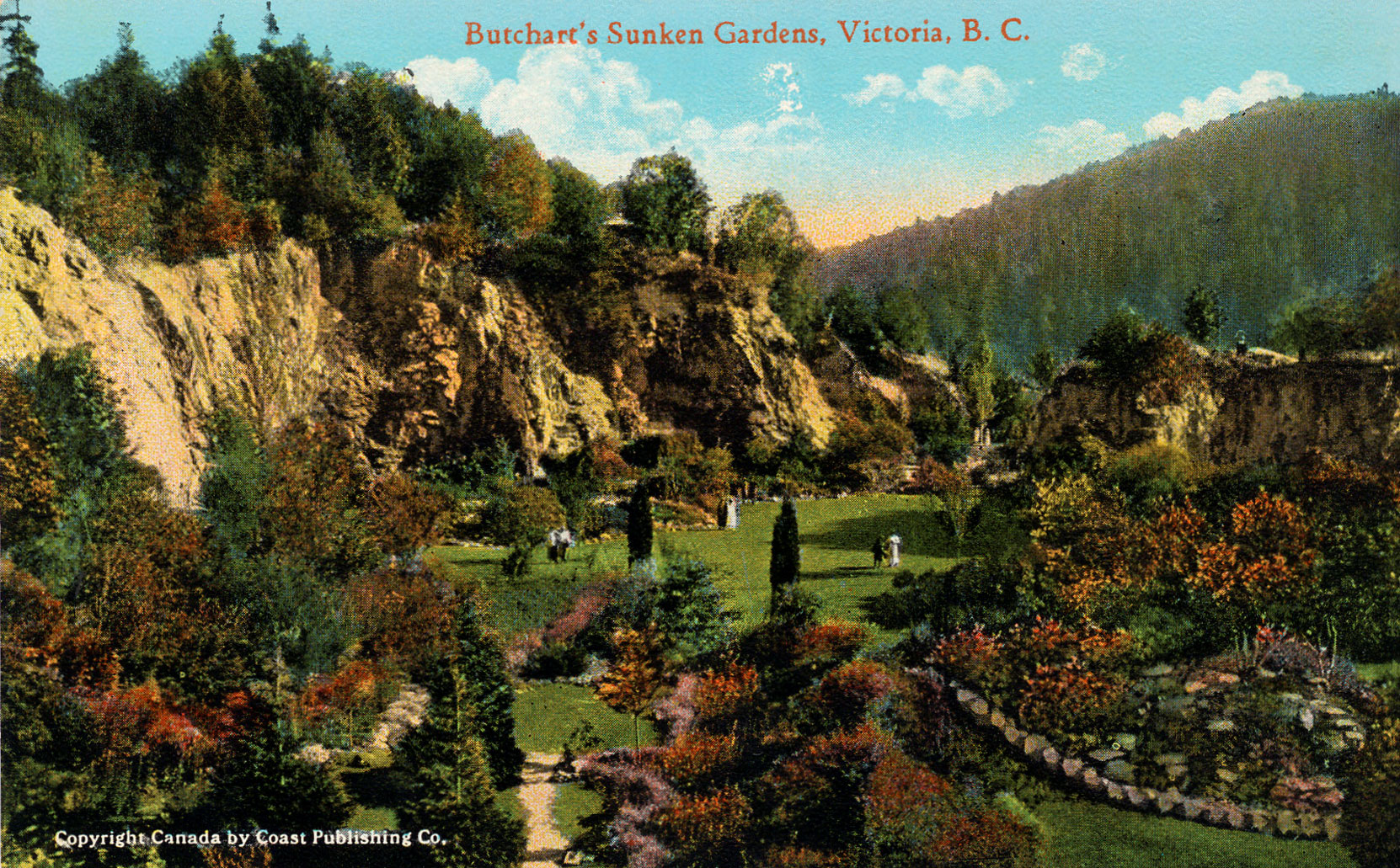 Postcard of the Sunken Garden, circa 1920 (Author's collection)