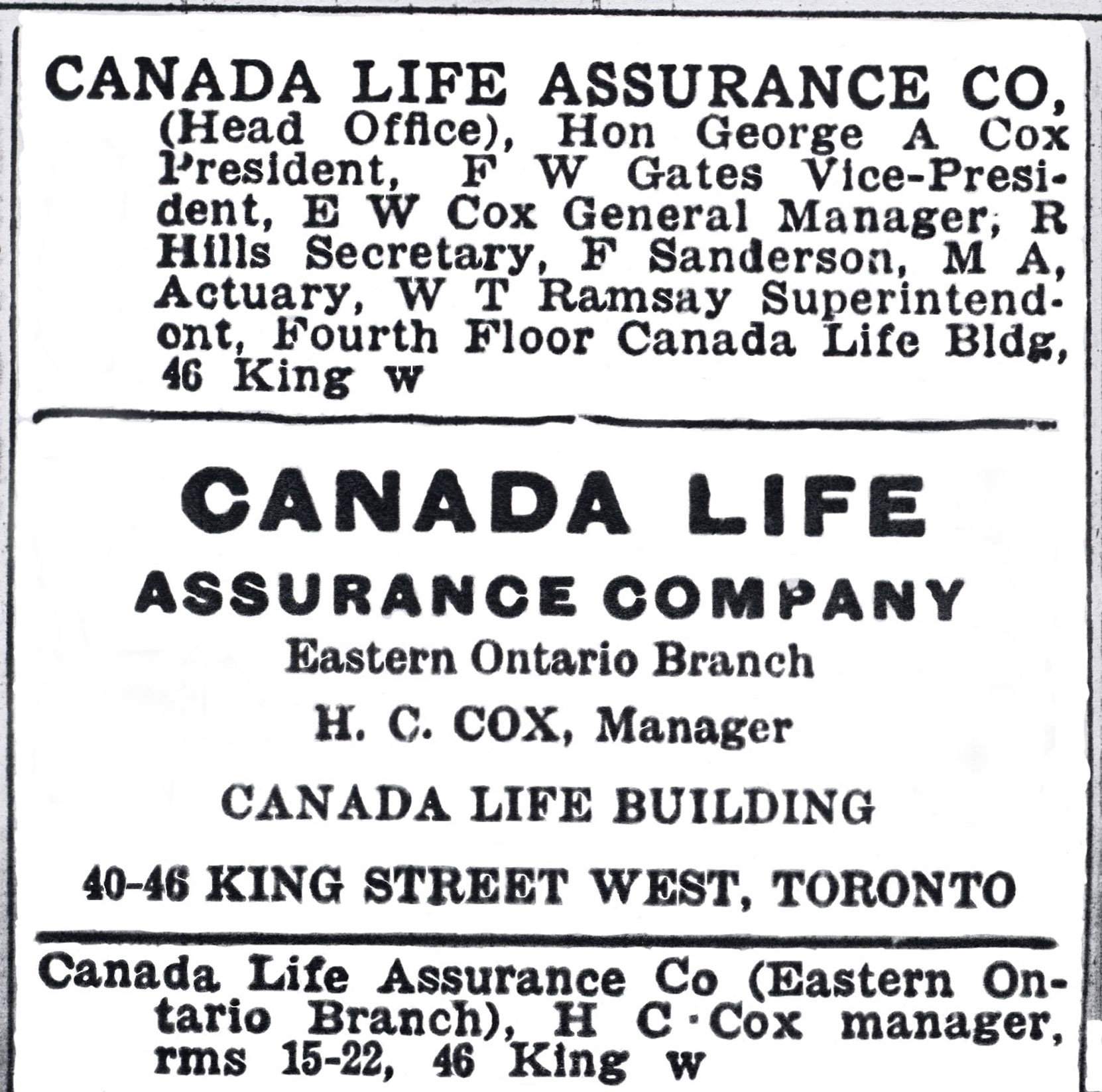 Canada Life Assurance Company advertisement, 1904, showing Senator George Albertus Cox as President (Author's collection)