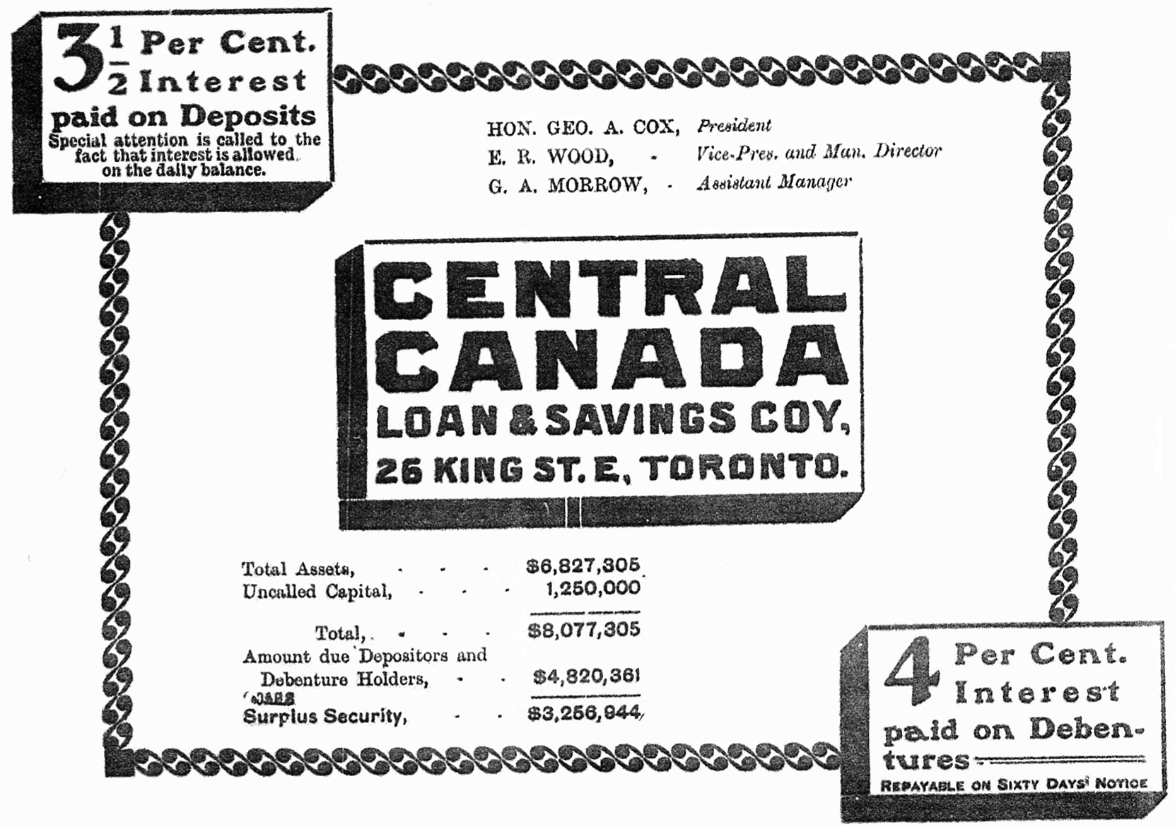 Central Canada Loan & Savings Company advertisement, 1904. Note Senator George A. Cox, President and Edward Rogers Wood, Vice President and Managing Director. (Author's collection)
