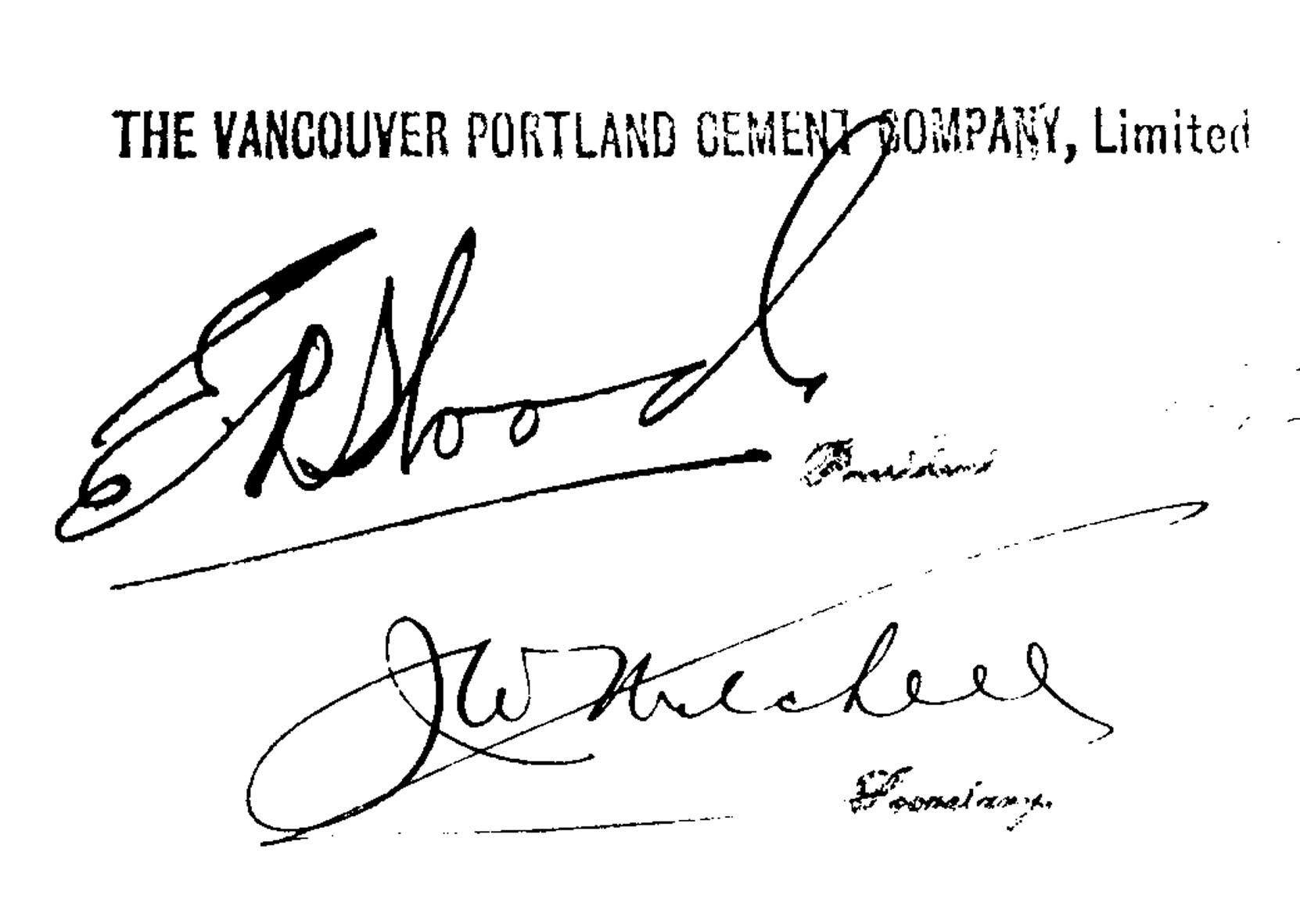 Signatures of Edward Rogers Wood and John Worth Mitchell on a vancouver Portland Cement Company document, 1910 (Author's collection)