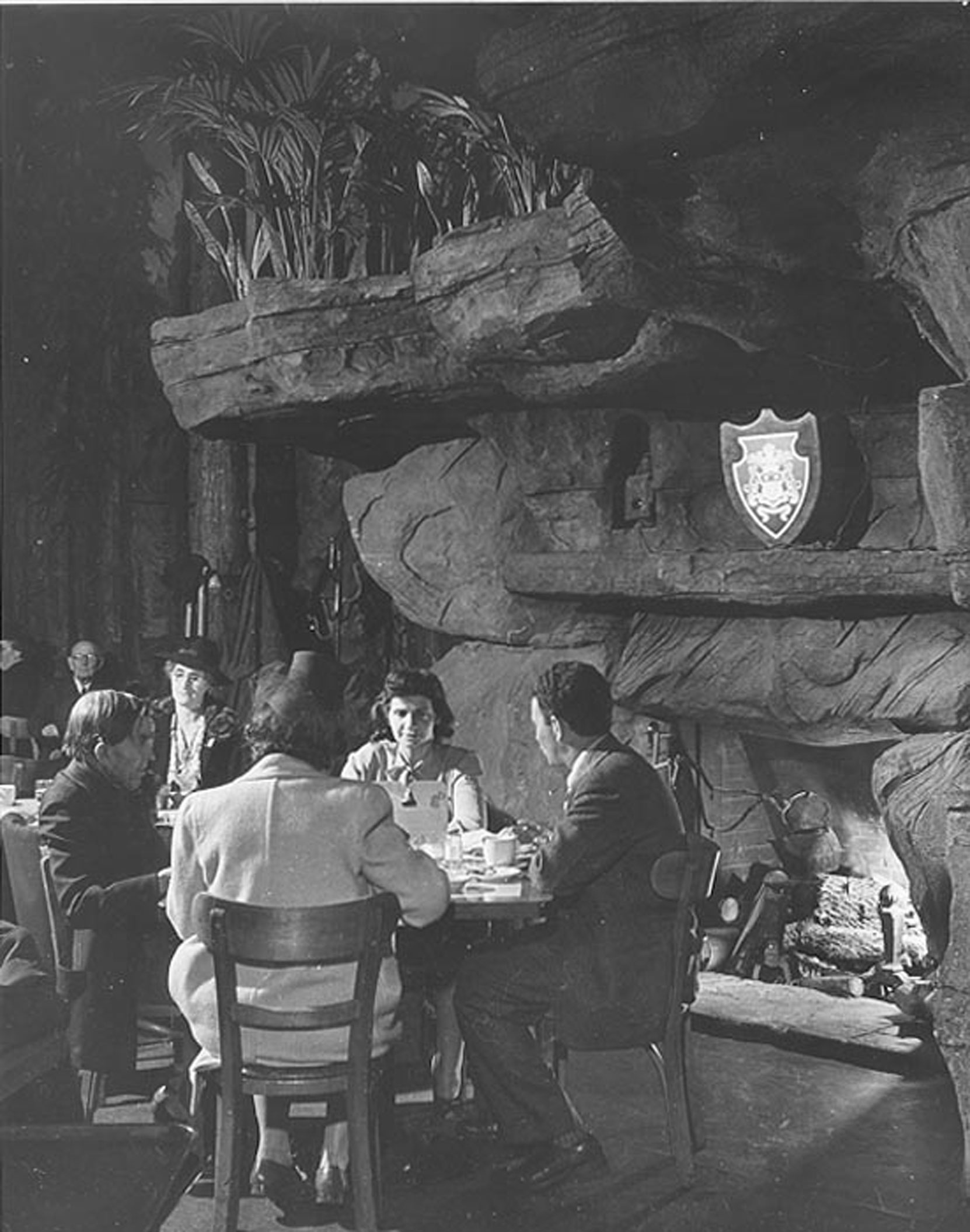 Francois Scotti installation in Clifton's Brookdale Cafeteria, 649 South Broadway, Los Angeles, CA. Francois Scotti designed and installed this piece in 1935. (courtesy of Clifton's Cafeteria)