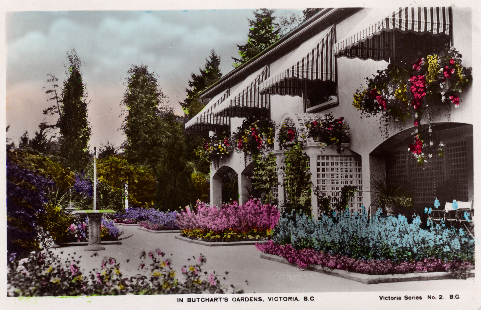 Postcard of the Italian Garden, looking north, circa 1930, just after the construction of the 1929 addition to Benvenuto on the east side (right) of the Italian Garden. (Author's collection)
