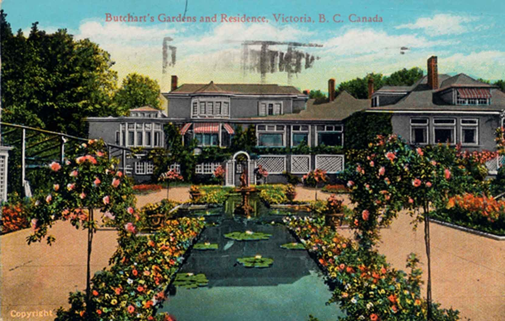 Postcard of the Italian Garden, looking south toward Benvenuto, circa 1926-1928, prior to the construction of the 1929 addition to Benvenuto on the east side (left) of the Italian Garden. (Author's collection)