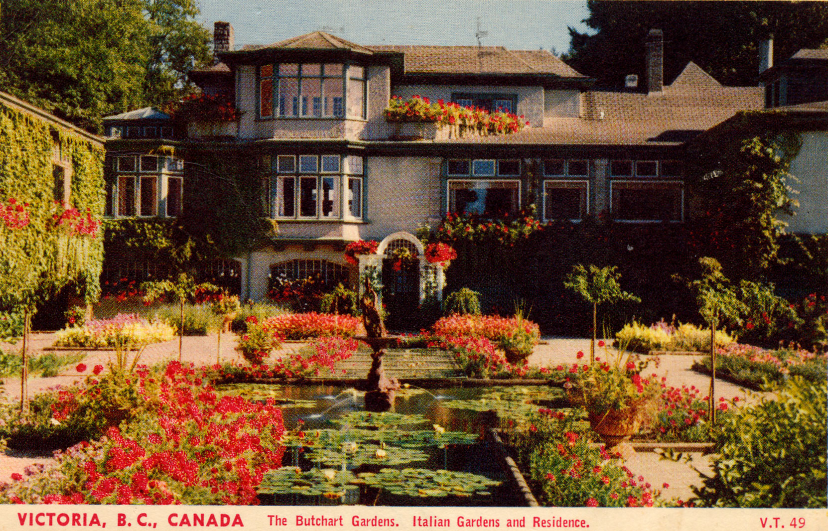 Postcard, postmarked May 1954, of the Italian Garden, looking south toward Benvenuto. (Author's collection)