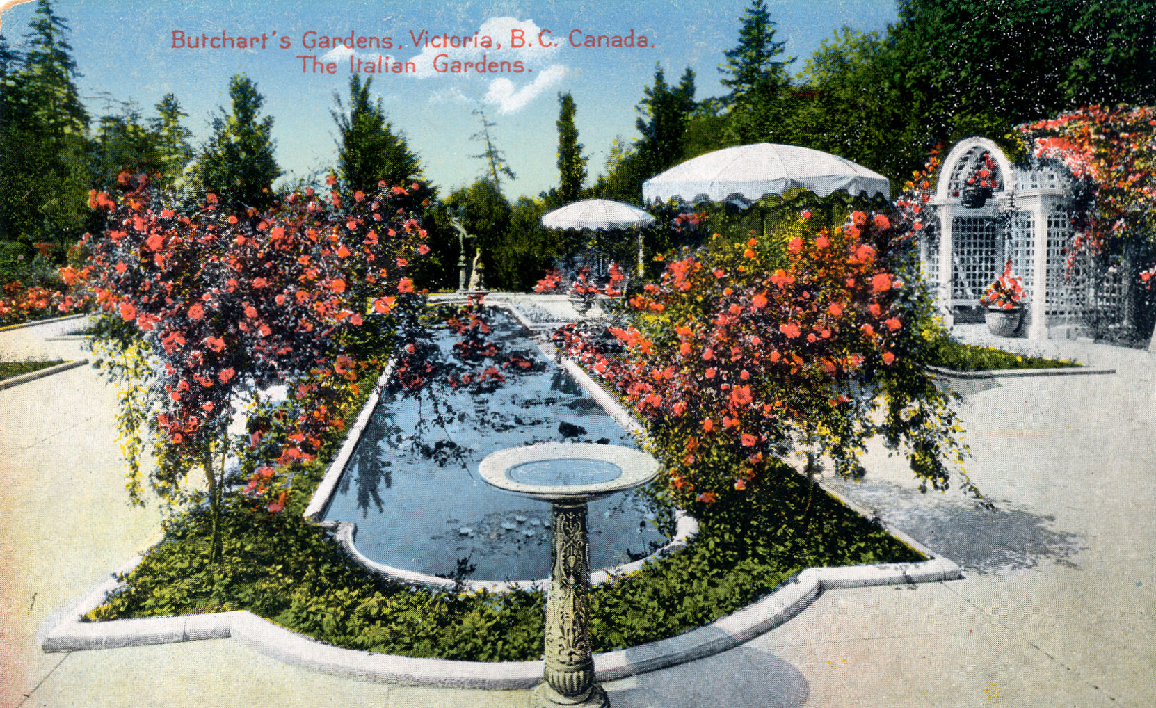 Postcard of the Italian Garden, looking north, circa 1926-1928, prior to the construction of the 1929 addition to Benvenuto on the east side (right) of the Italian Garden. (Author's collection)