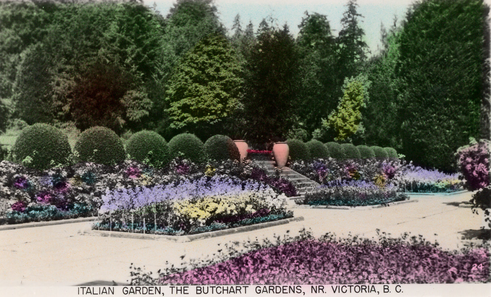 Postcard of the Italian Garden, circa 1940 (Author's collection)