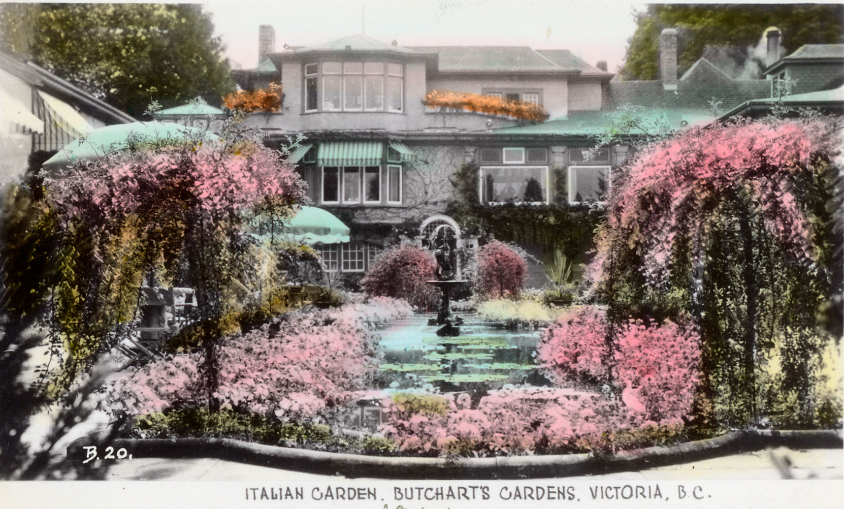 Postcard, dated 1944, showing the Italian Garden and Benvenuto (Author's collection)