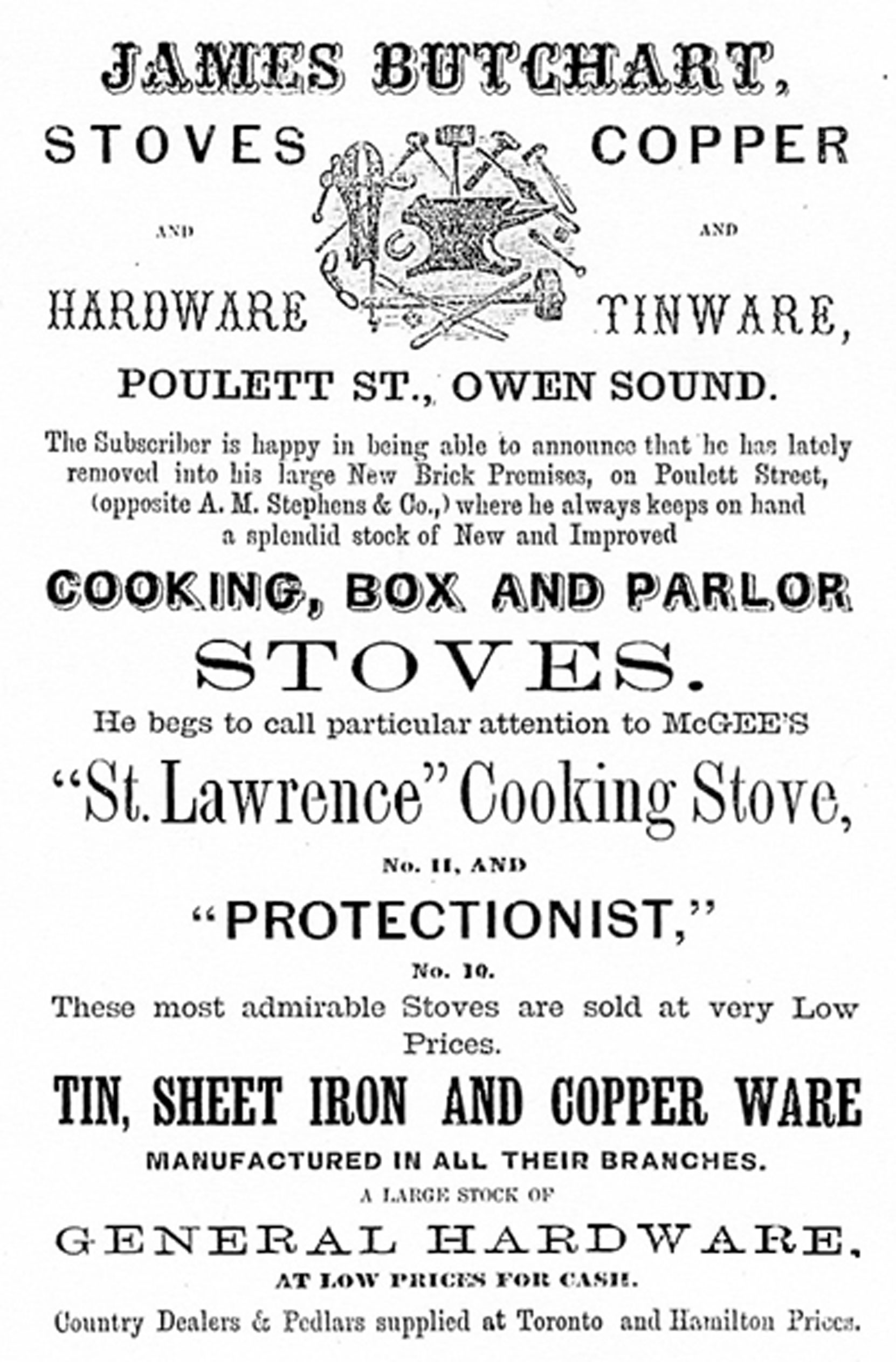 "Advertisement for James Butchart's ""General Hardware"" business, Owen Sound, Ontario, 1864 (Author's collection)"