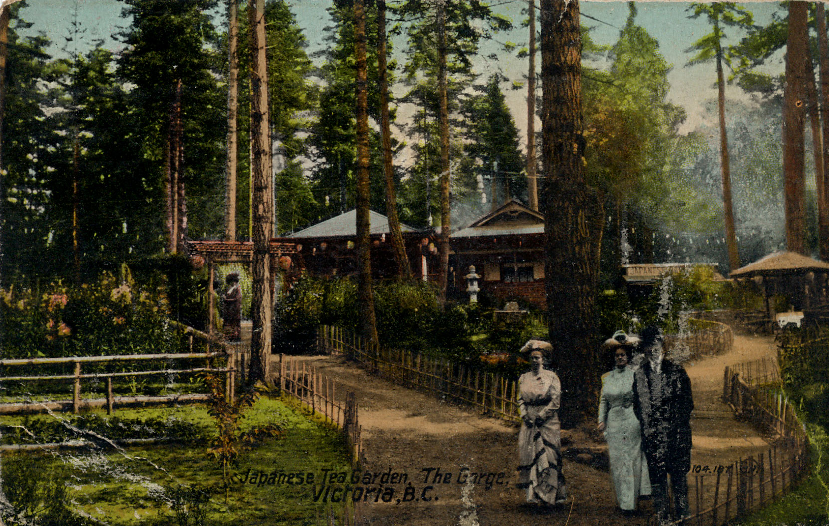 Postcard of the Japanese Tea Garden designed by Isaburo Kishidaat Gorge Park, Victoria, B.C. This postcard is postmarked in 1913.(Author's collection)