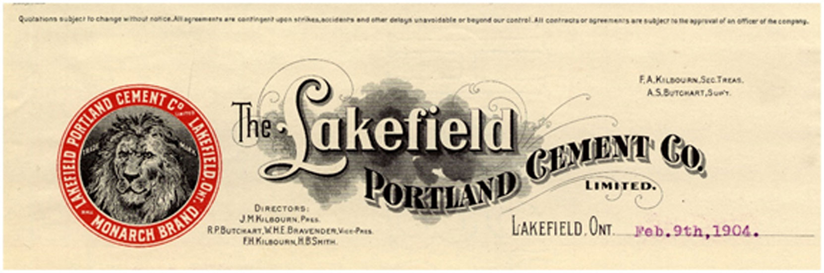 Lakefield Portland Cement Company letterhead, 1904 (Author's collection)