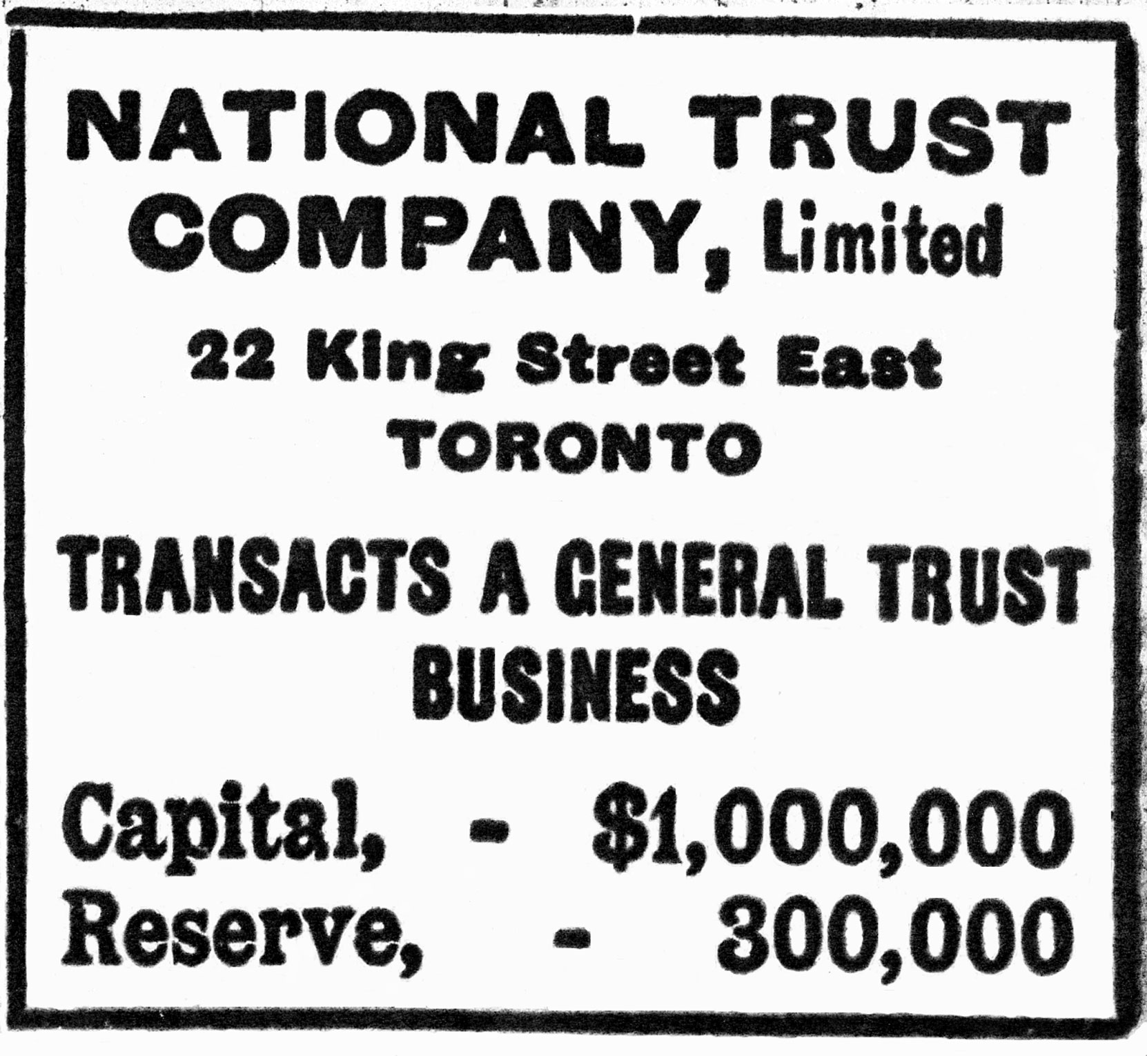 National Trust Company advertisement, 1904 (Author's collection)