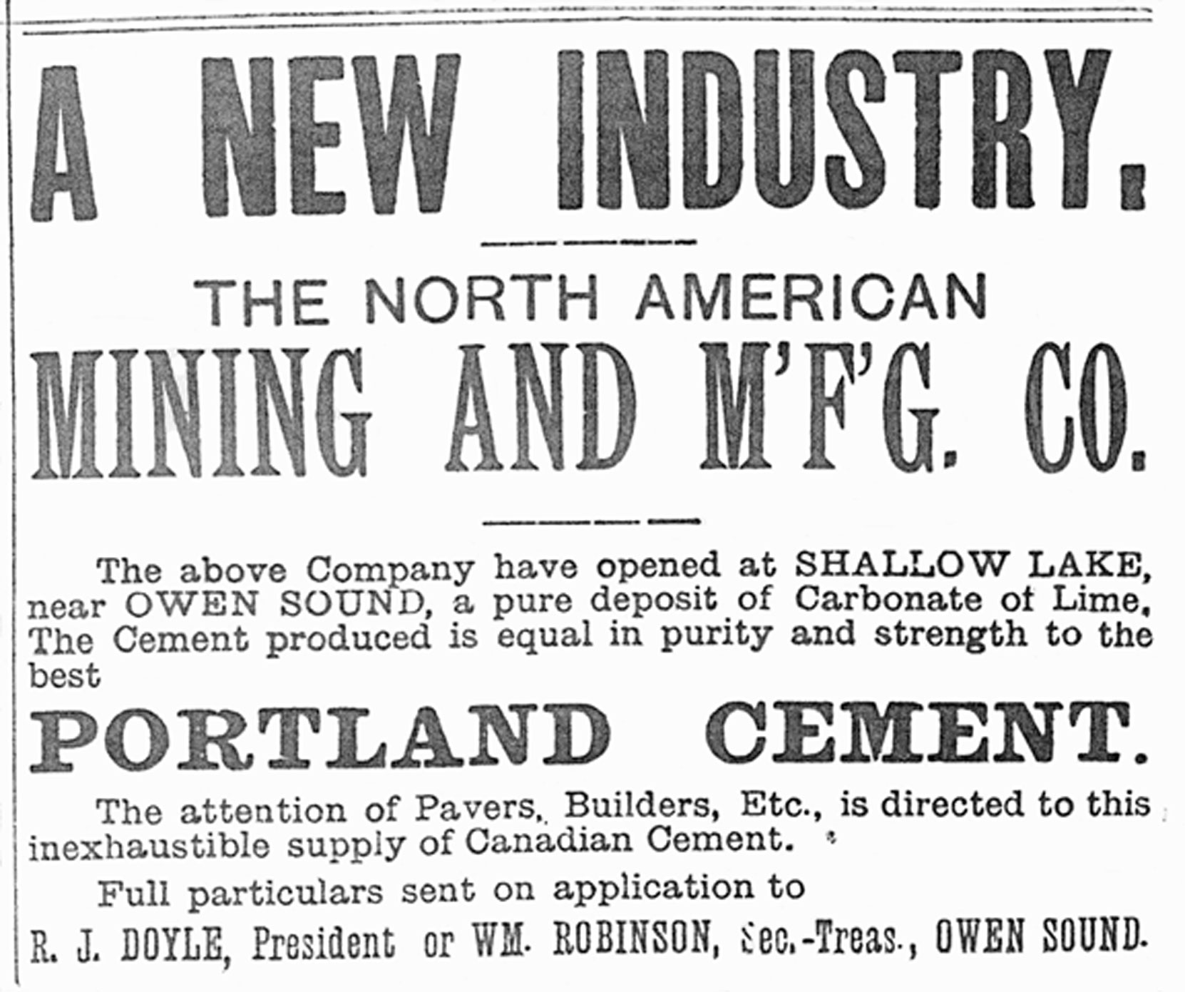 Advertisement for the newly incorporated North American Mining And Manufacturing Company, of Shallow Lake, Ontario, August 1889 (Author's collection)