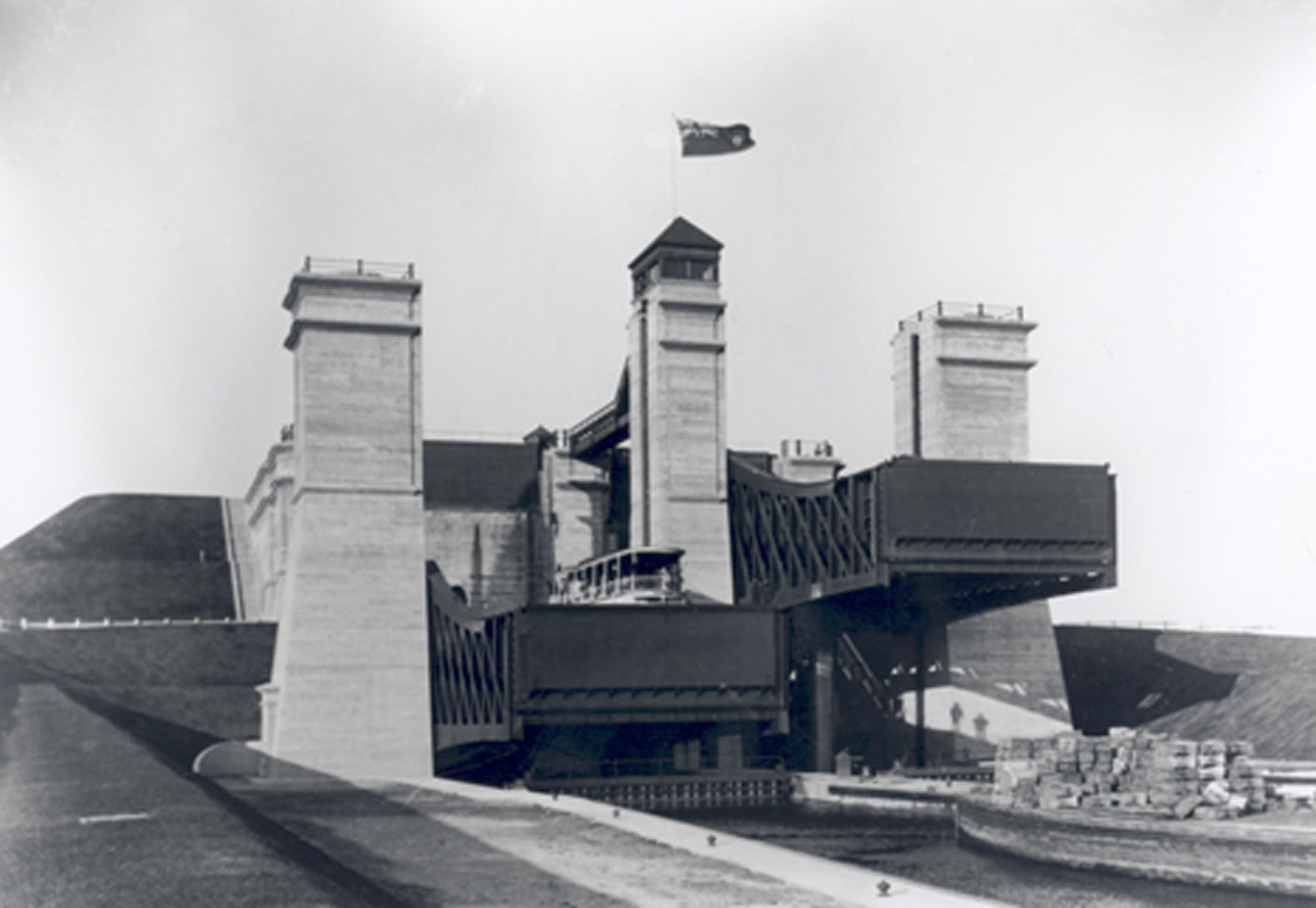 The finished Peterborough Hydraulic Lift Lock with Steamer and barge, 1904. Construction of this lock required 19,879 cubic meters of concrete, much of it made with cement supplied by the Lakefield Portland Cement Company. The Peterborough Lift Lock is still operational and has been designated a Canadian Heritage Site. (Photo courtesy of Parks Canada, Trent-Severn Waterway Historic Photo Collection)