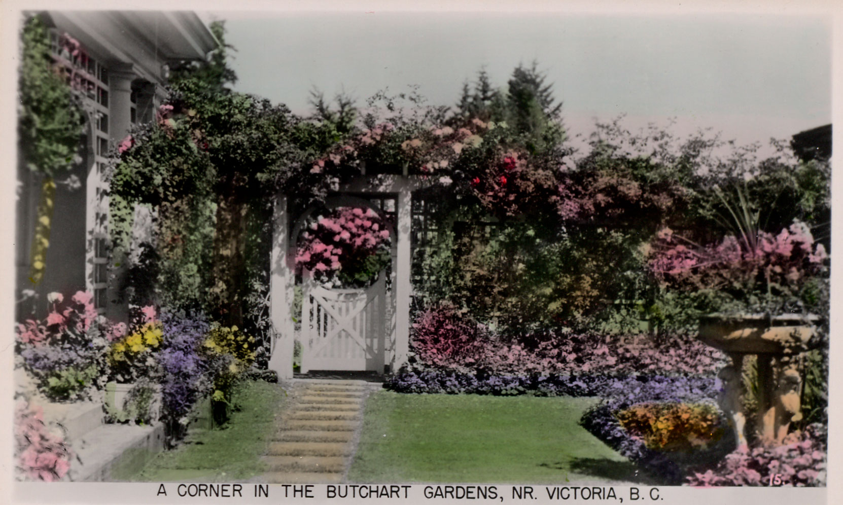 Postcard showing Jennie Butchart's Private Garden,, circa 1922-1930 (Author's collection)