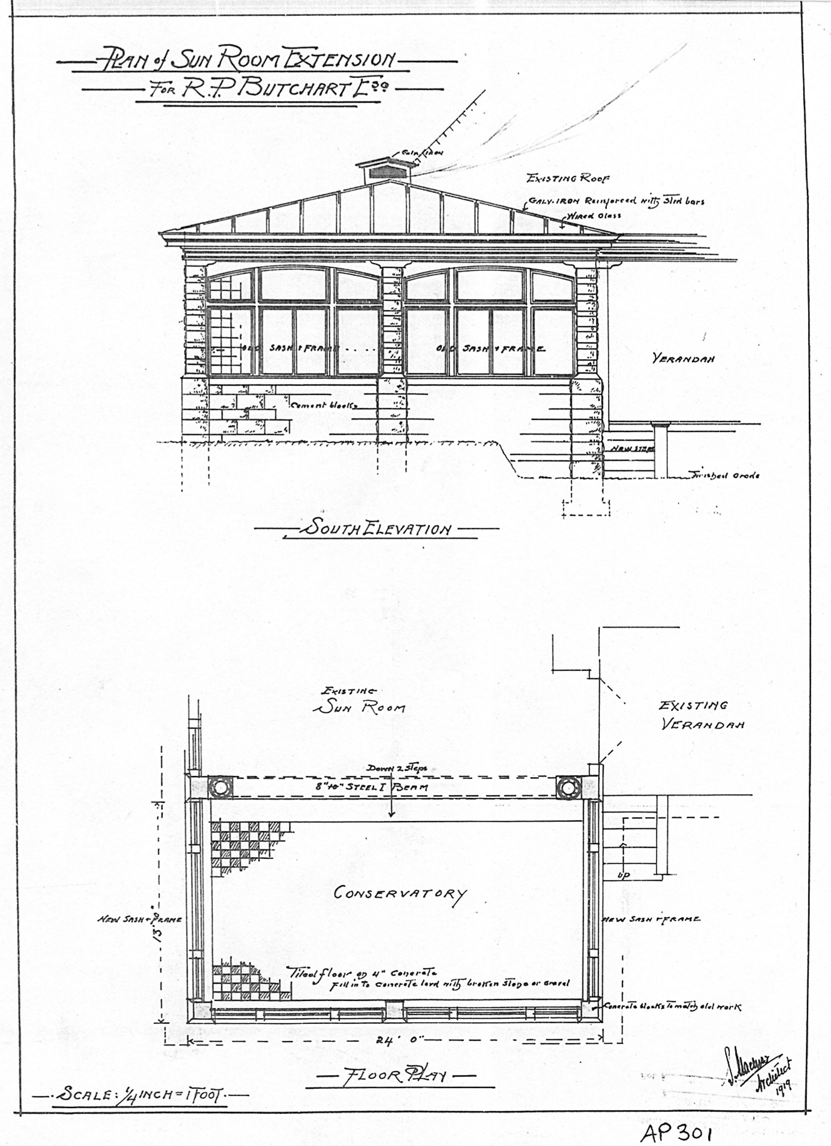 Samuel Maclure drawings for Sun Room extension, 1919 (courtesy of Maltwood Gallery - AP301)