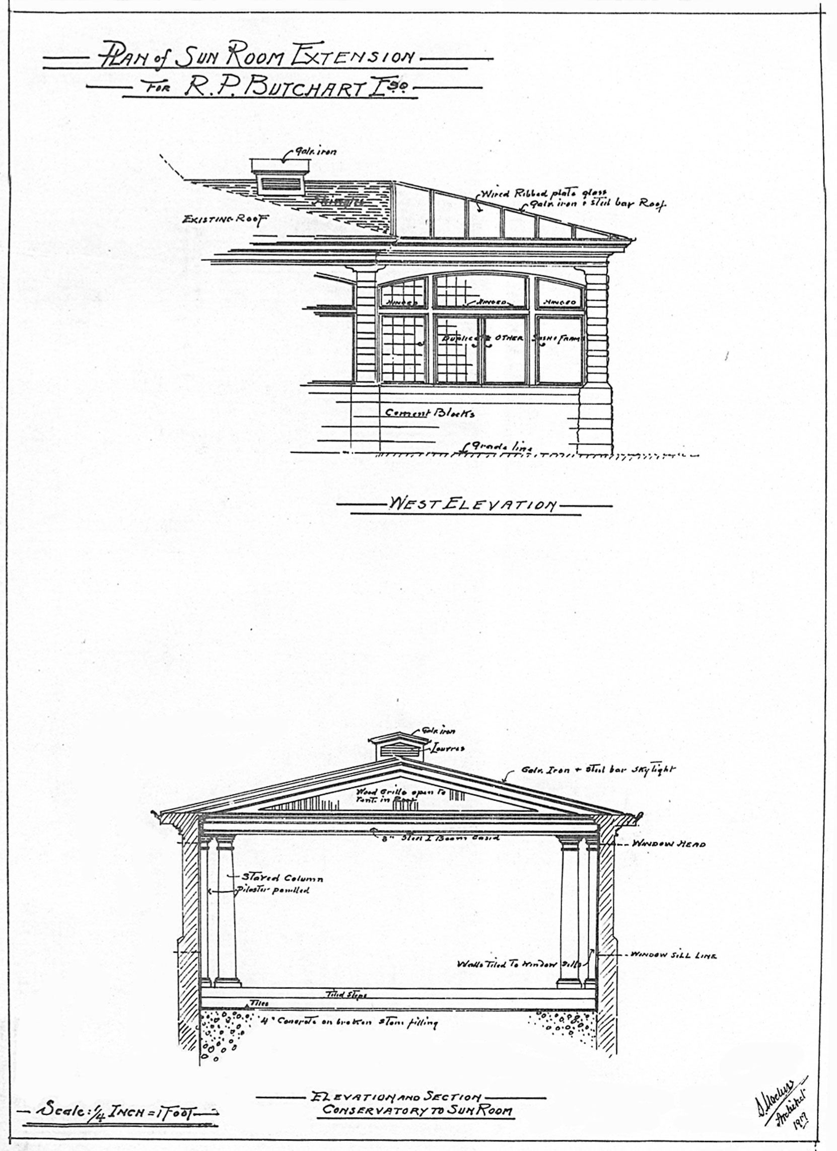 "Detail from Samuel Maclure drawing for ""Sun Room Extension"" at Benvenuto, 1919. The original Sun Room addition had been designed by Samuel Macure in 1911. (courtesy of UVic Library - Special Collections)"