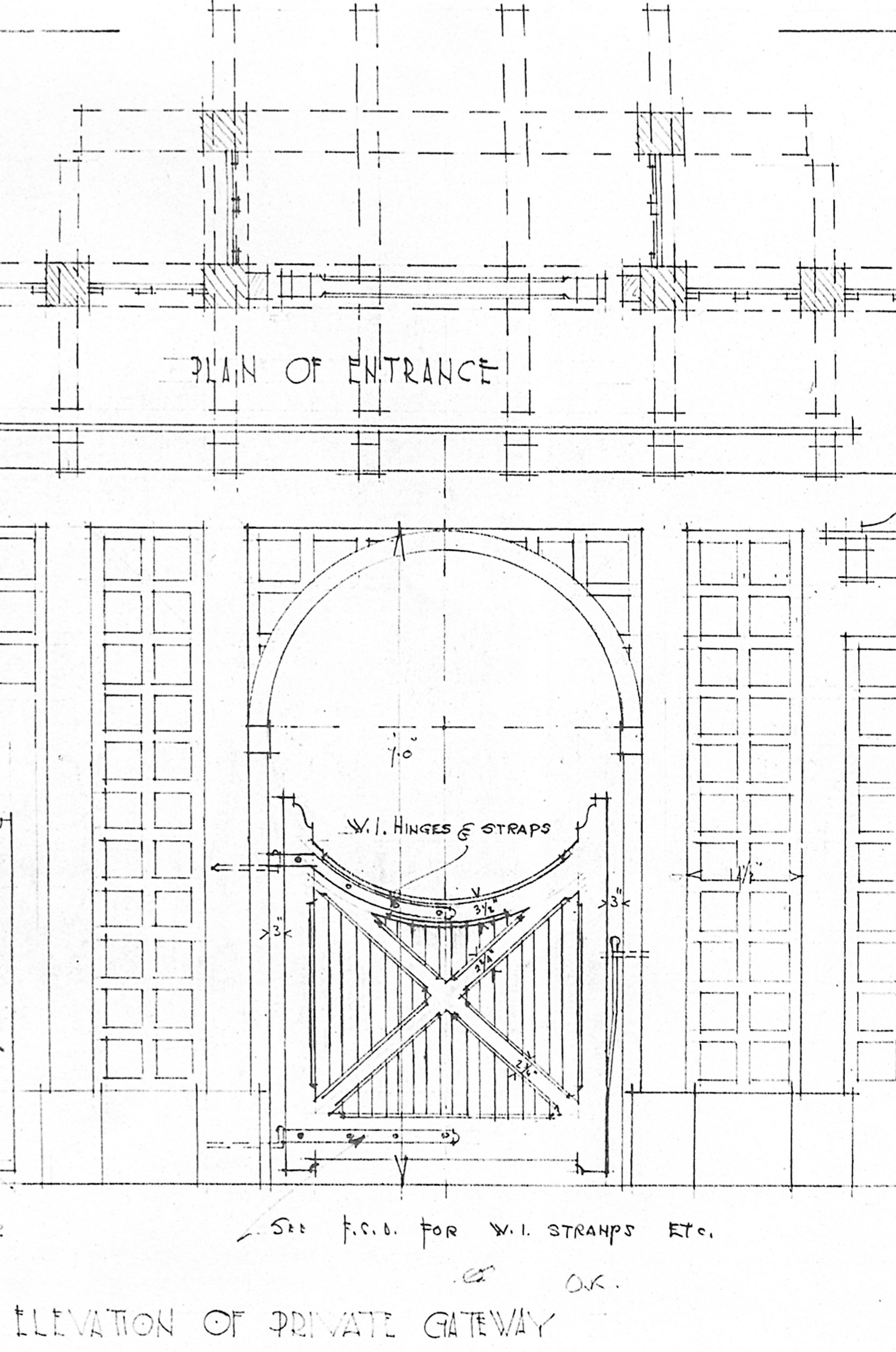 Detail from Samuel Maclure drawing of gate for Jennie Butchart's Private Garden, 1920. This design is still in place. (courtesy of UVic Library - Special Collections)