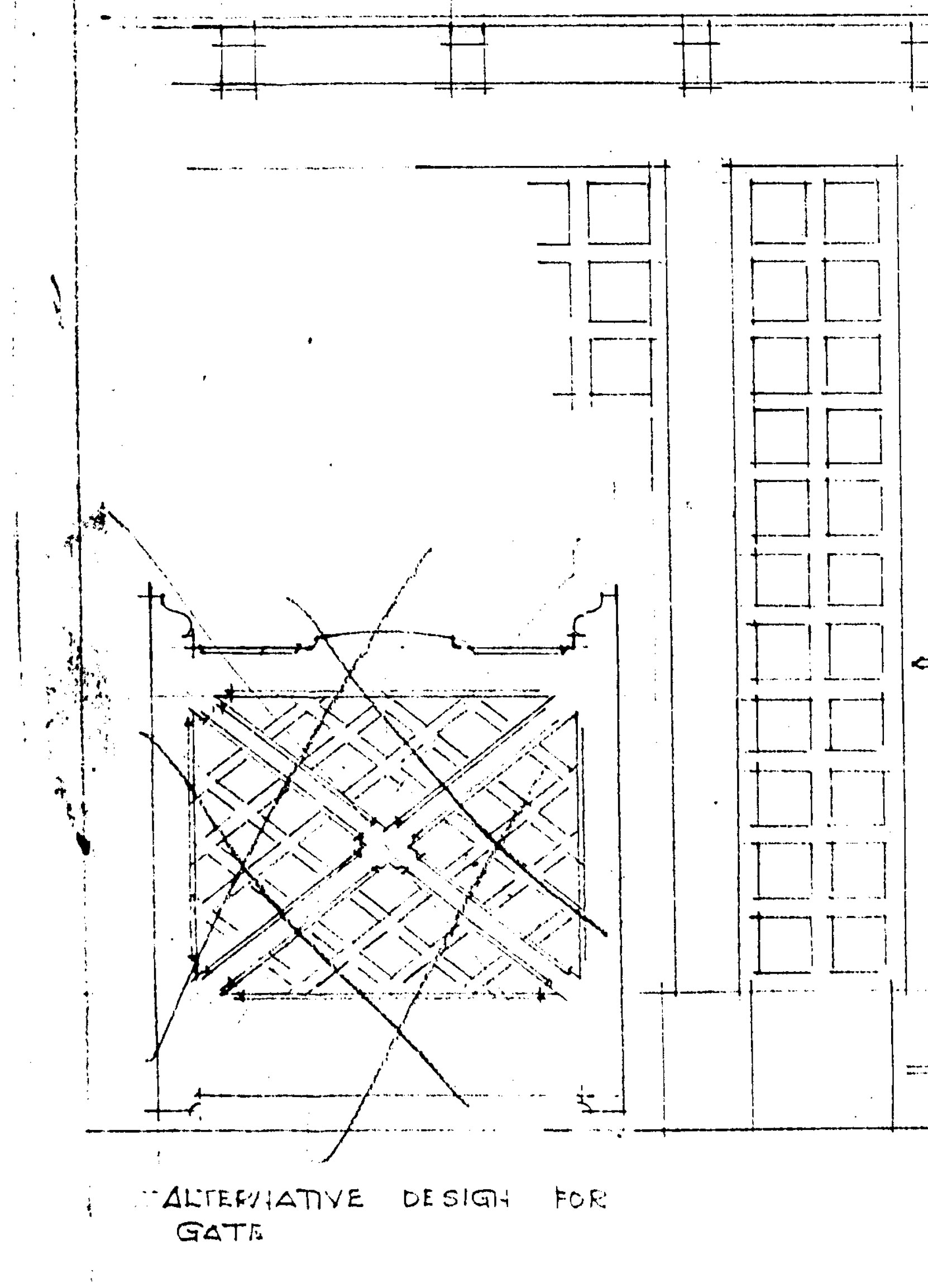 Detail from Samuel Maclure drawing of proposed gate for Jennie Butchart's Private Garden, 1920. This design was rejected in favour of the design that is still in place. (courtesy of UVic Library - Special Collections)