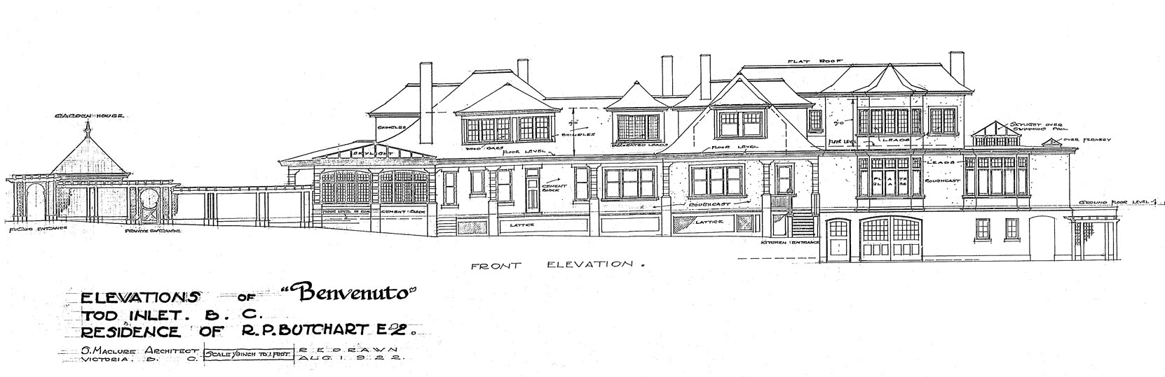 Samuel Maclure drawing of front (south) elevation of Benvento, 1922 (courtesy of UVic Library - Special Collections)