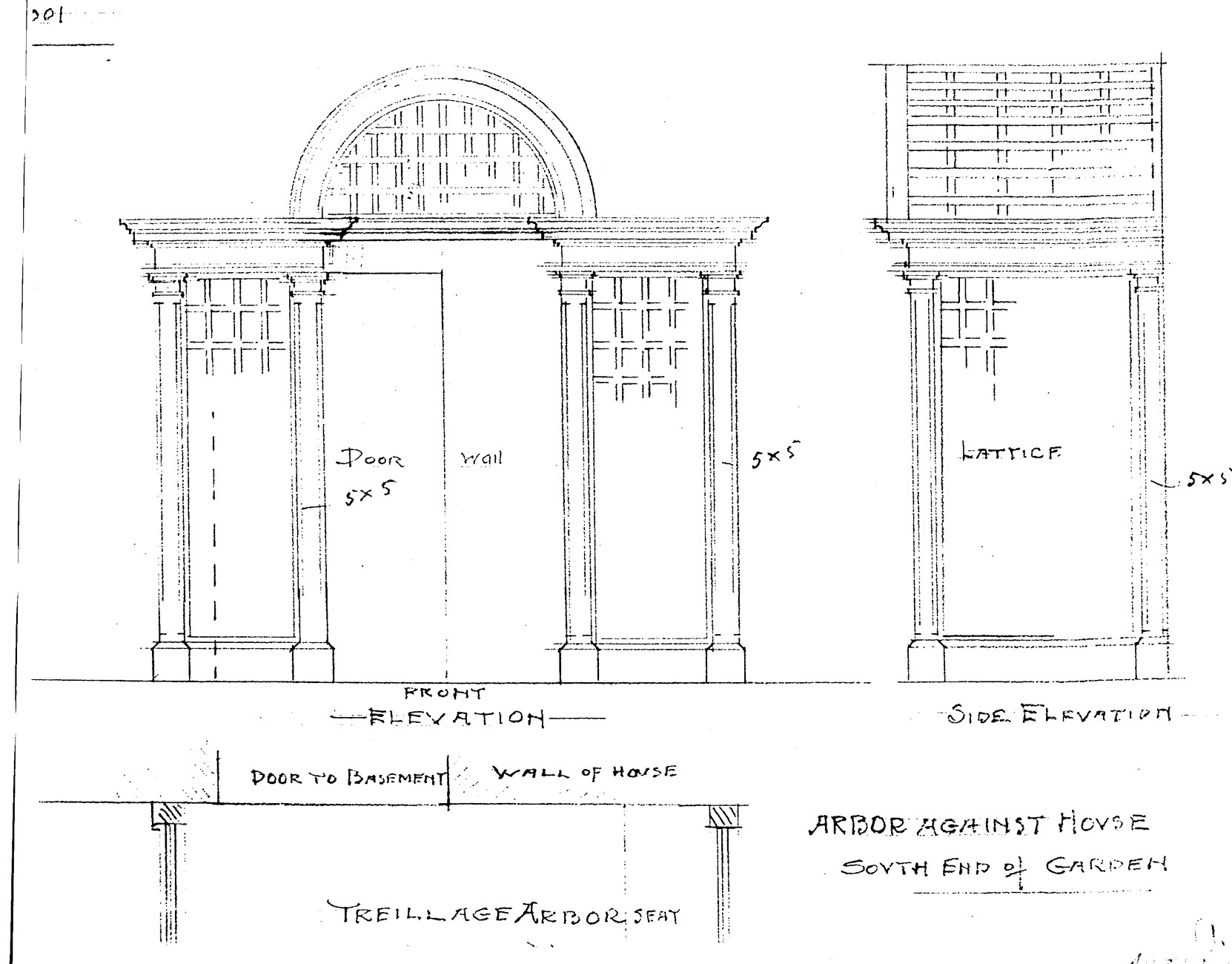 "Samuel Maclure design for ""Arbor Against House"" for the Italian Garden, 1925 (courtesy of UVic Library - Special Collections)"