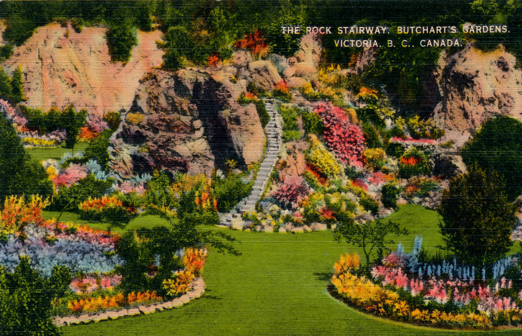 Postcard showing the Sunken Garden Mound, circa 1920's. (Author's collection)
