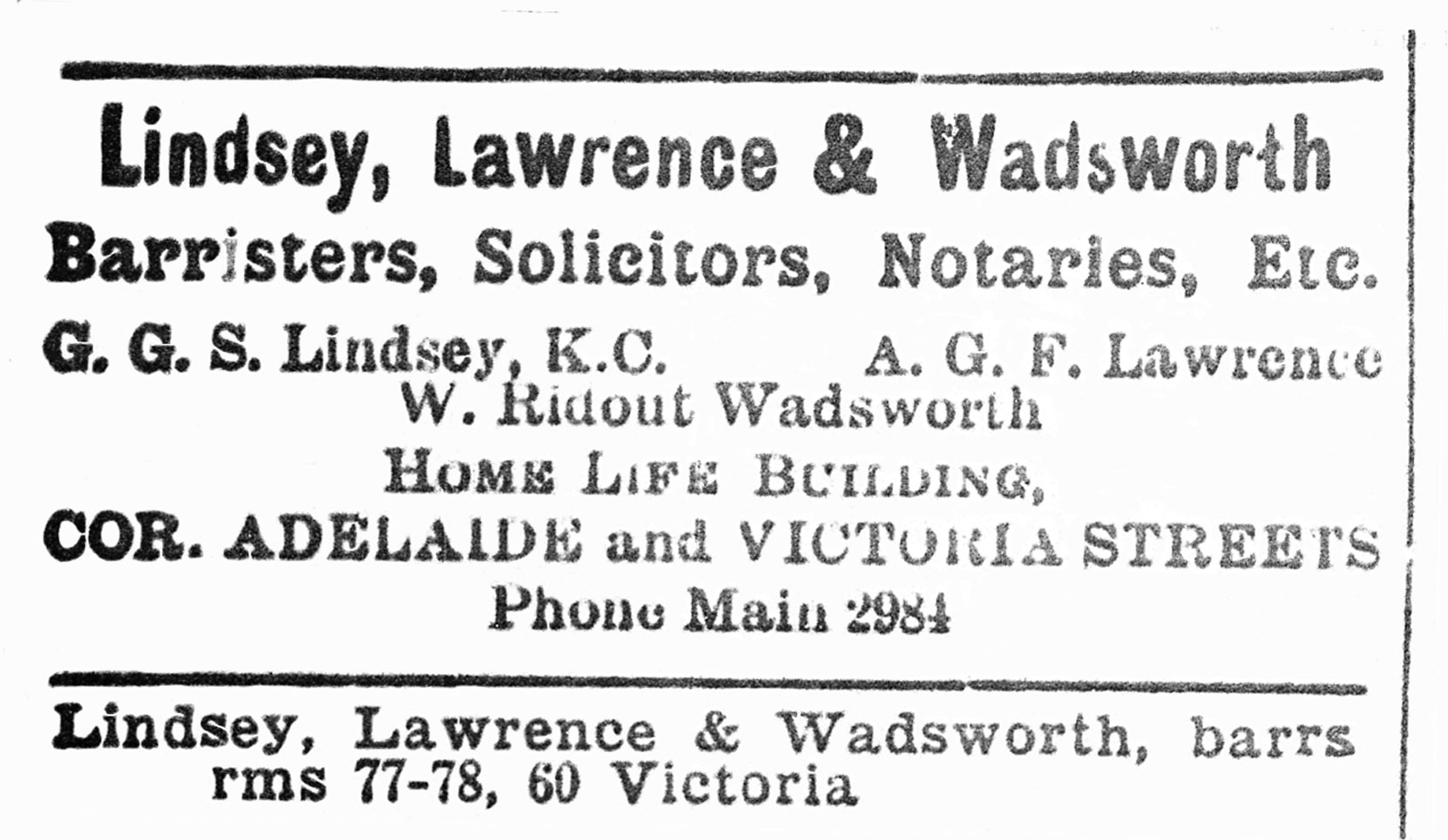 Toronto Directory listing for the law firm of Lindsey, Lawrence & Wadsworth, 1904