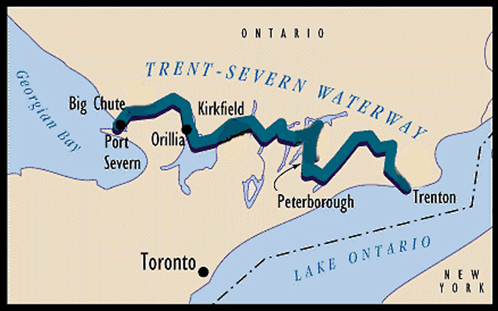 Trent-Severn Waterway map (courtesy of Parks Canada)