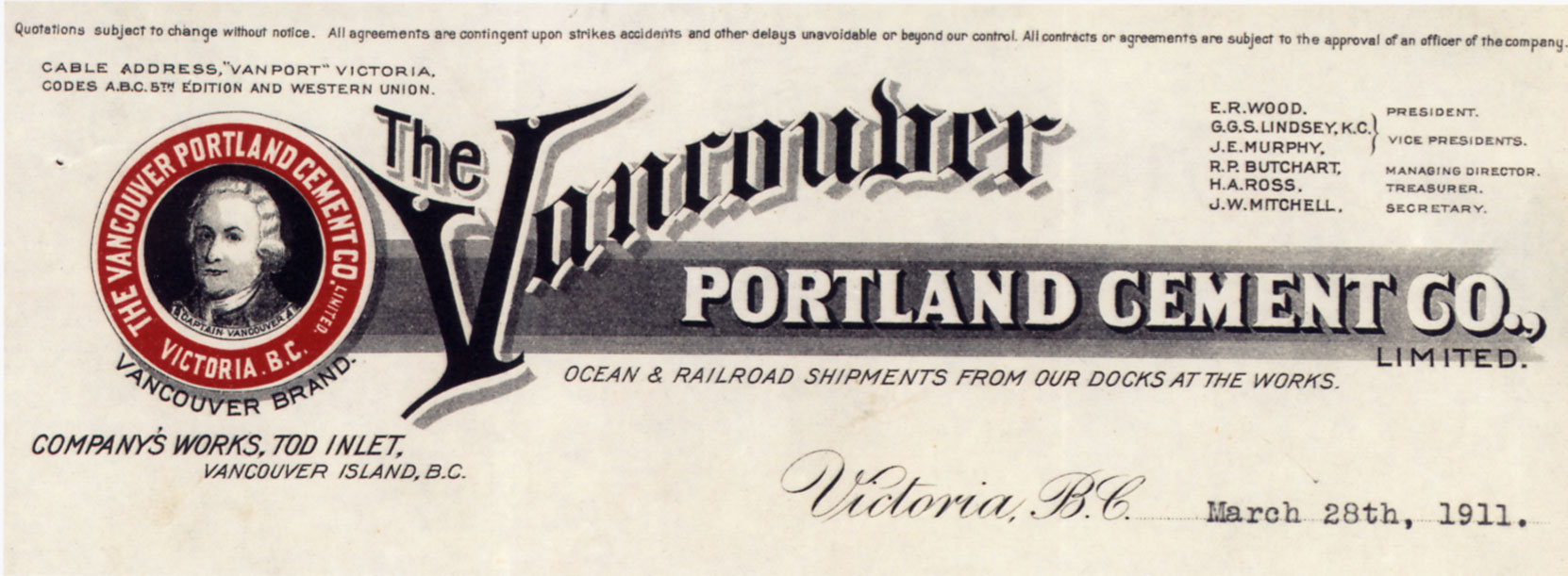 Vancouver Portland Cement Company Limited, letterhead, 1911 (Author's collection)
