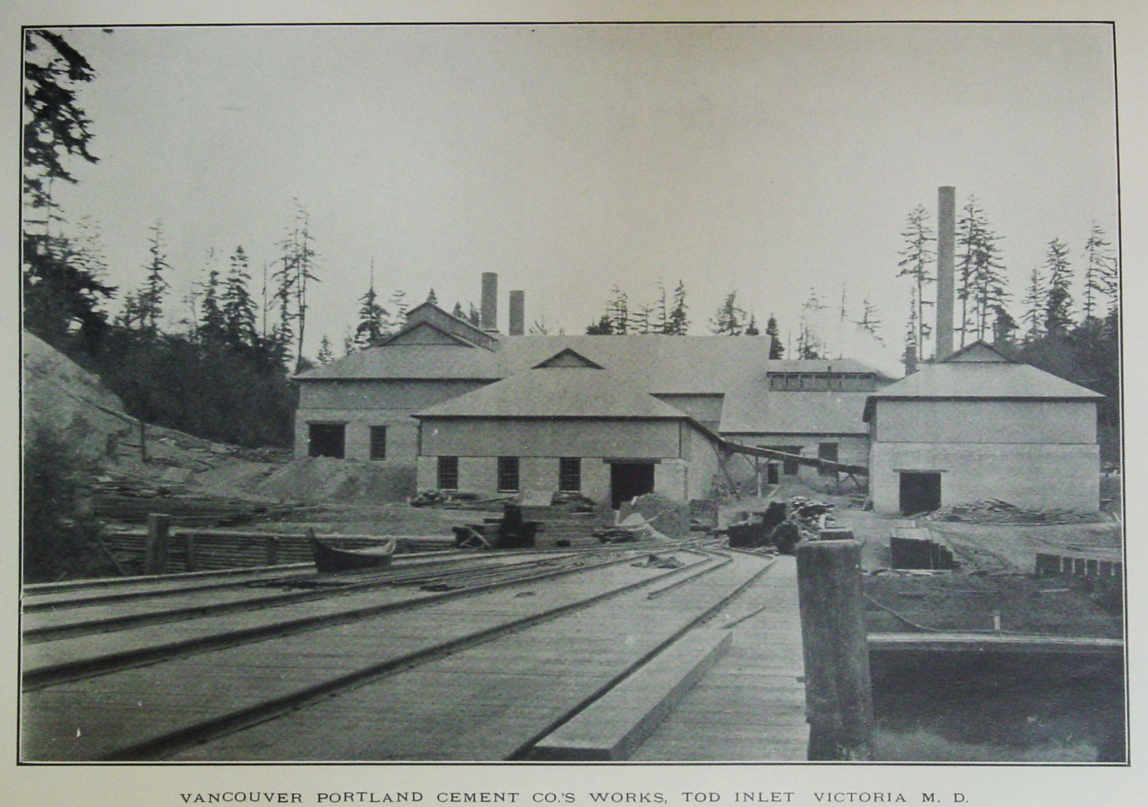 The Vancouver Portland Cement Company dock and plant at Tod Inlet, 1904. This photo appeared in the B.C. Minister of Mines Annual Report, 1904. (Author's collection)