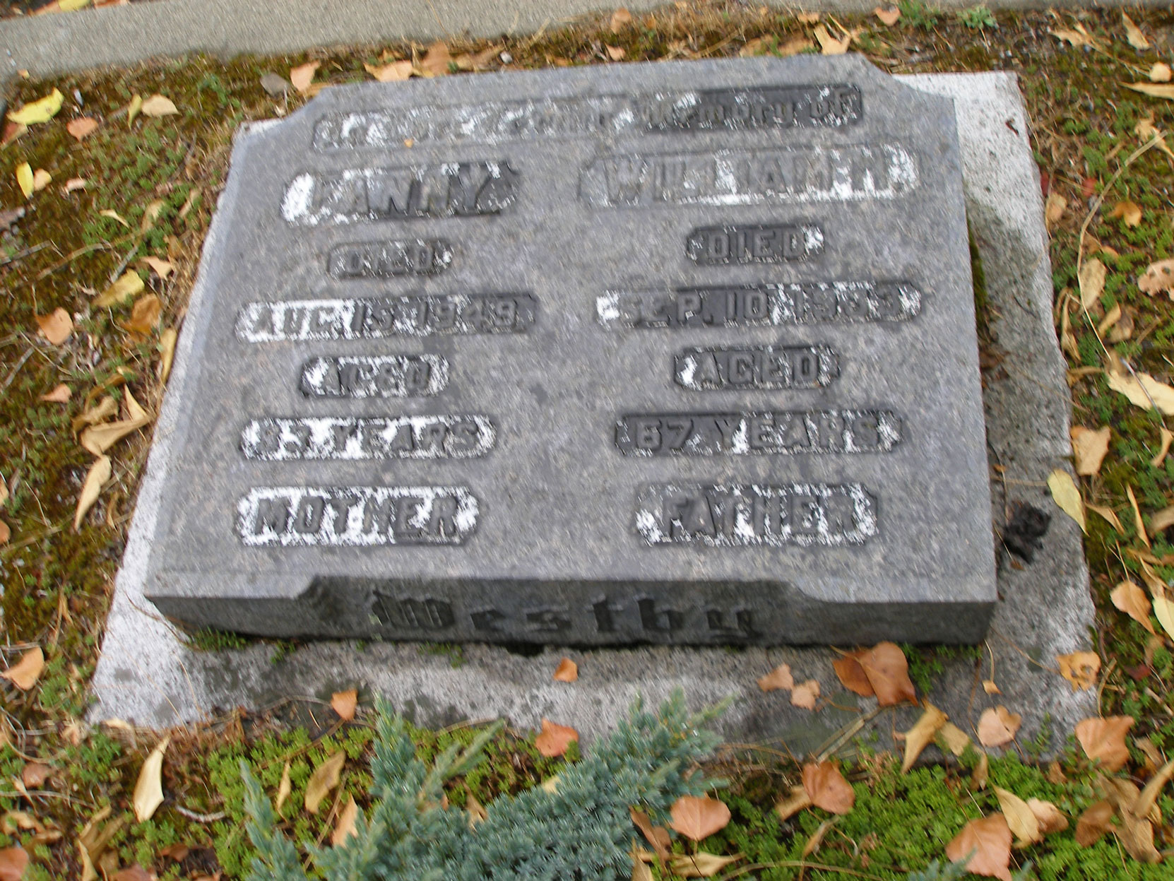 William Henry Westby grave stone, St. Luke's Anglican Cemetery, Saanich, B.C. (photo by author)