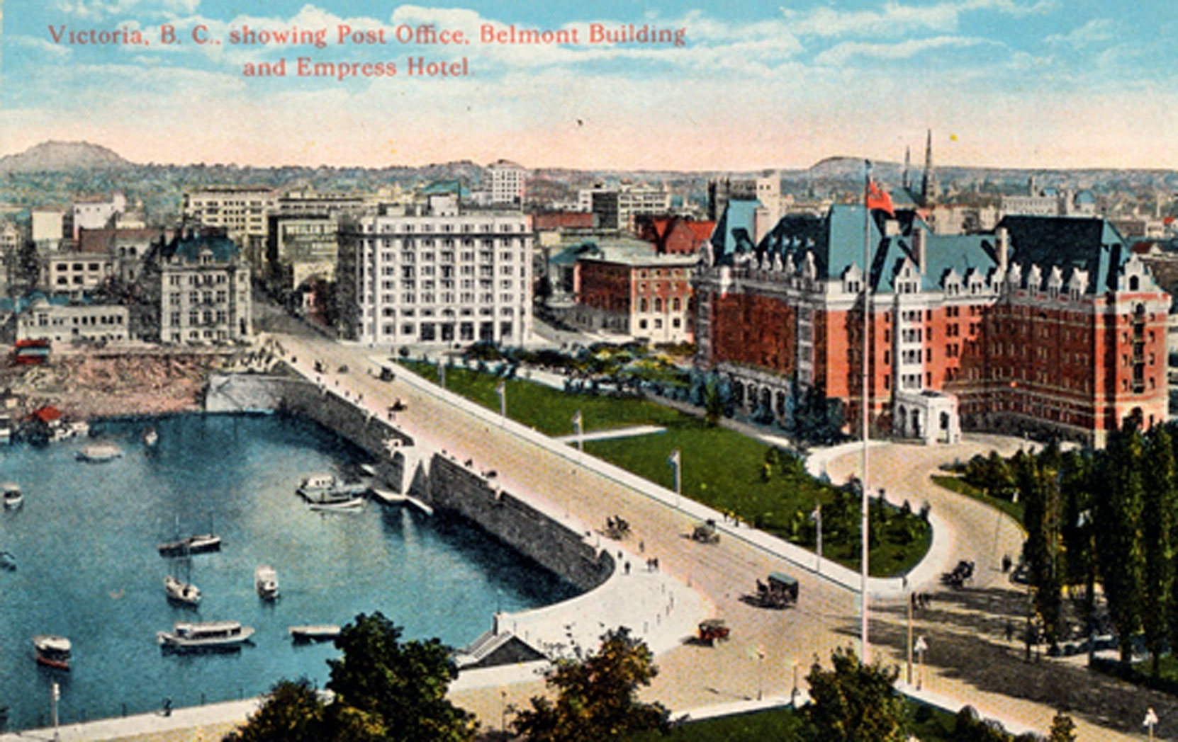 Postcard showing the Belmont Building, the Union Club, the Empress Hotel and the Causeway, circa 1925 (Author's collection)