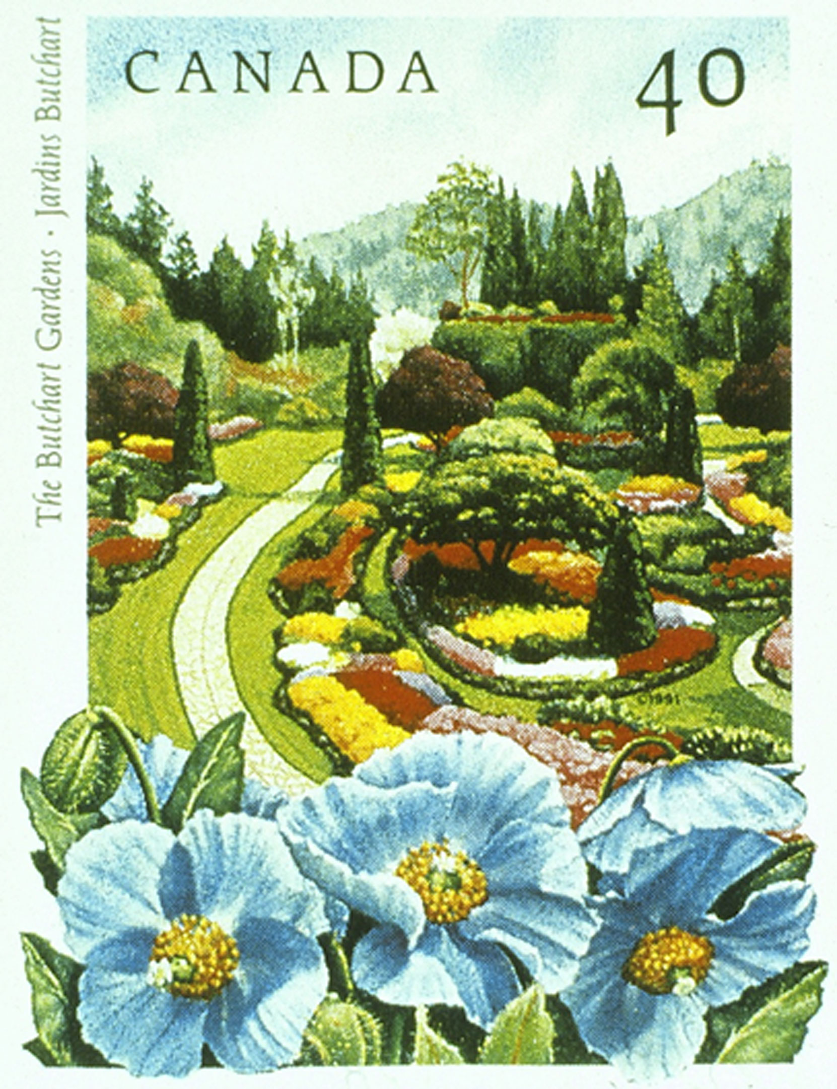 The Butchart gardens 40 cent postage stamp, issued by Canada Post as part of the Public Gardens series, 22 May 1991. (© Canada Post Corporation, 1991. Reproduced with Permission)