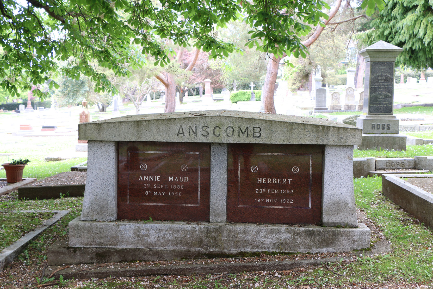 Herbet Anscomb grave, Ross Bay Cemetery, Victoria, B.C. herbert Anscomb, a Chartered Accountant, was one of the two Executors of Jennie Butchart's Estate. (photo by Author)