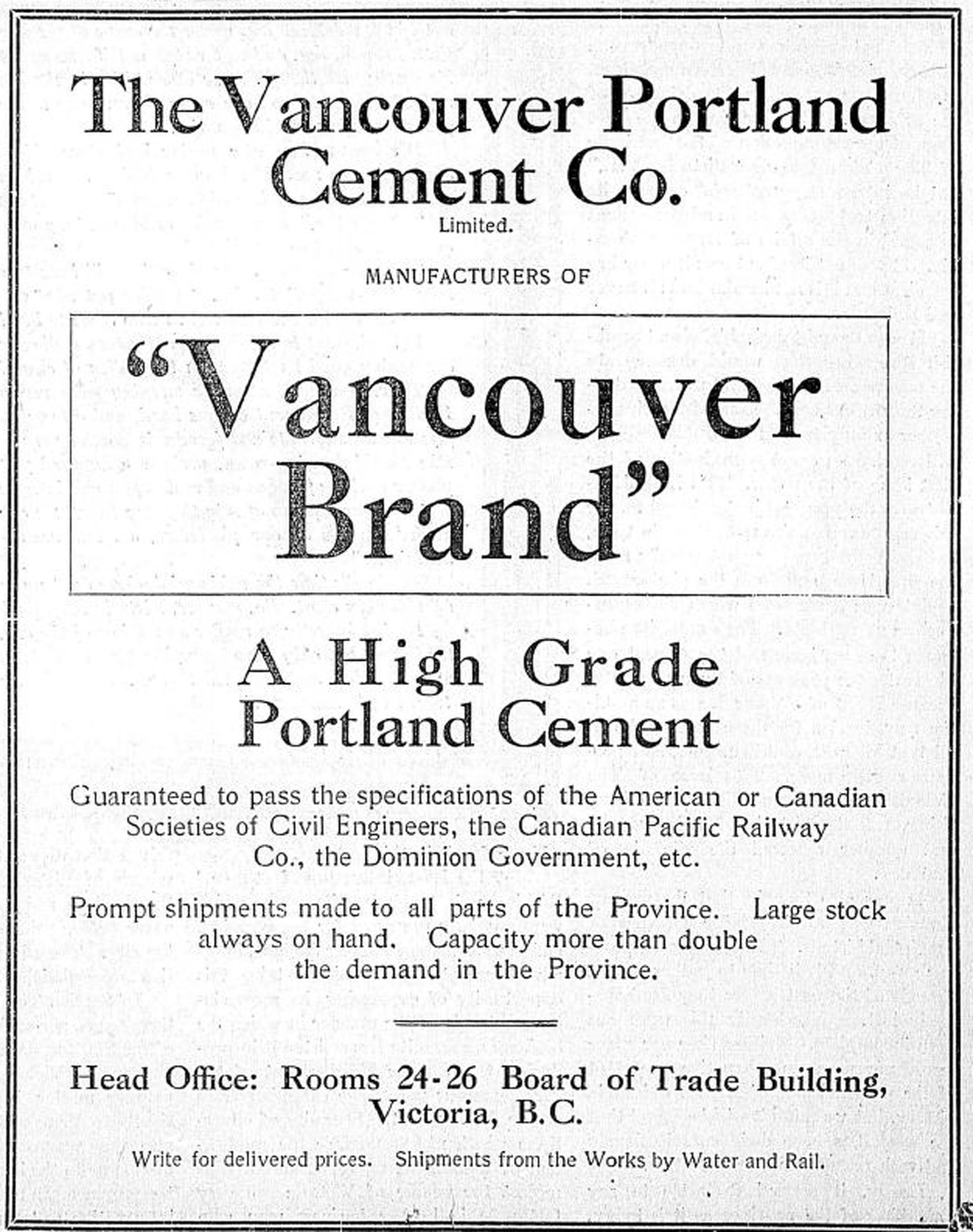 Vancouver Portland Cement Company advertisement, 1908 (Author's collection)