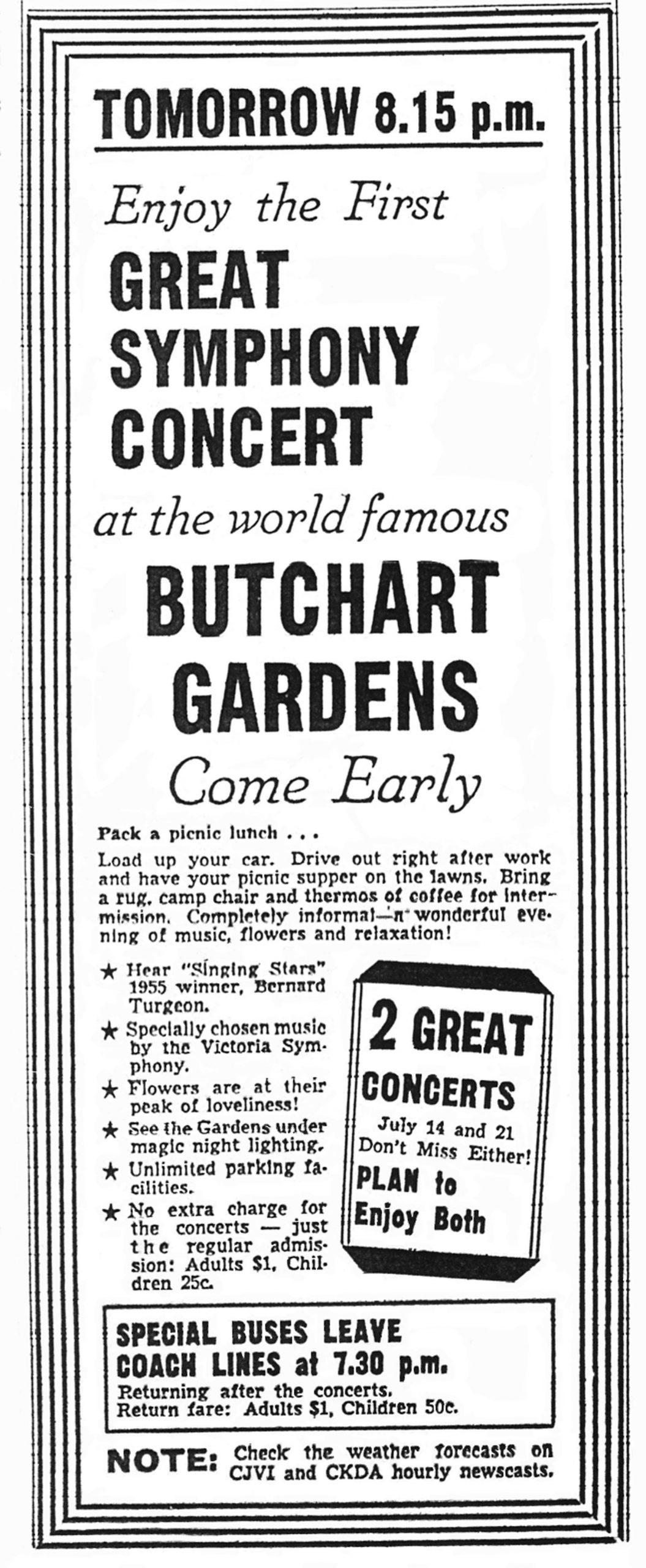Newspaper advertisement for Butchart Gardens Concert featuring Bernard Turgeon, July 1955