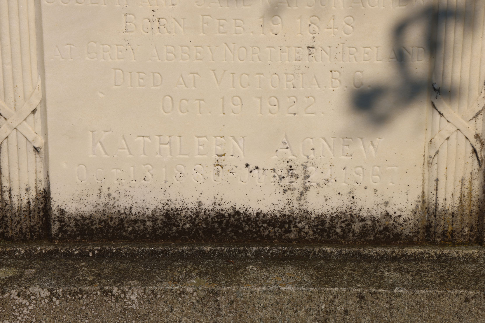 "Inscription for Katherine ""Kay"" Agnew on the Agnew family grave, Ross Bay Cemetery. (photo: Mark Anderson)"